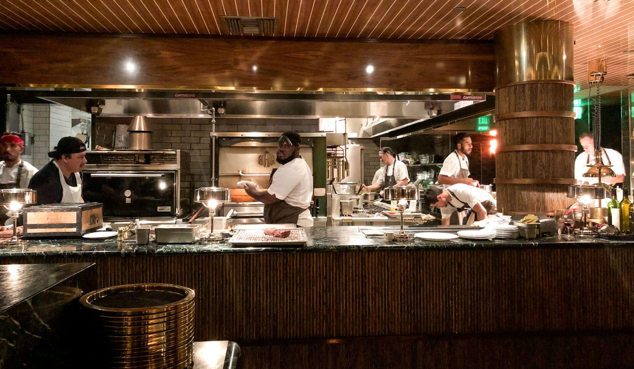 Open kitchen at Born and Raised Steakhouse in San Diego, California