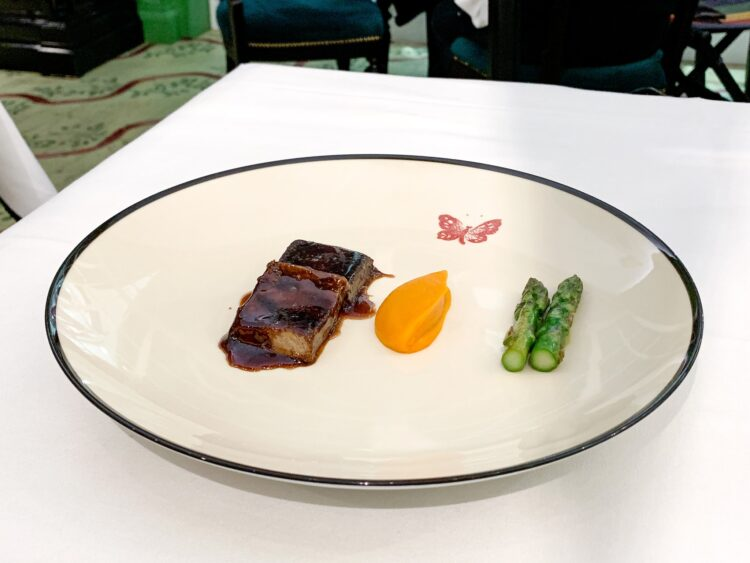 Beef tongue with asparagus and roasted carrot