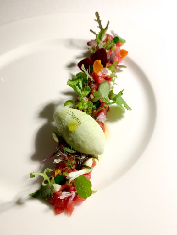 Beef tartare with fennel ice cream