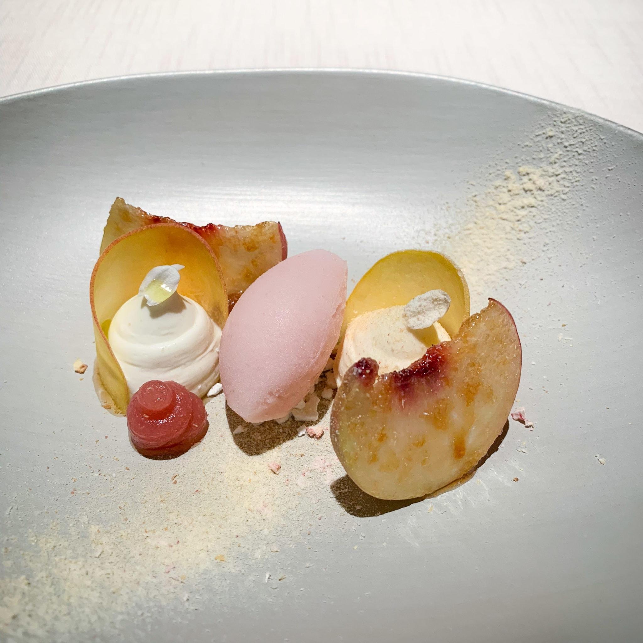 Peach and white chocolate dessert