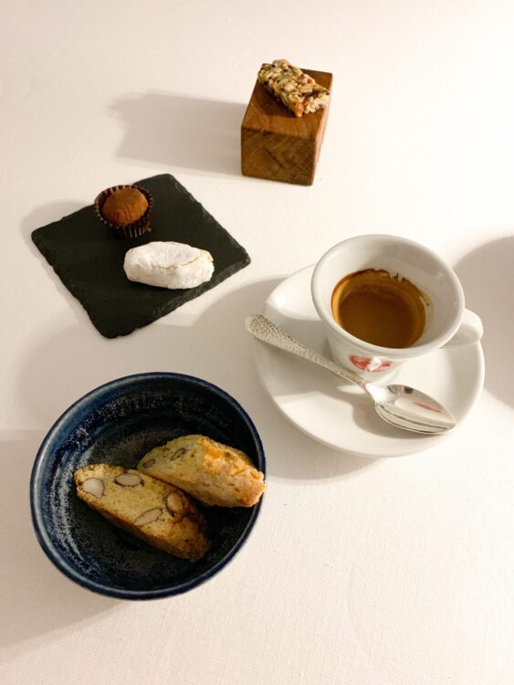 Espresso, biscotti, and chocolate truffle with honey, balsamic filling