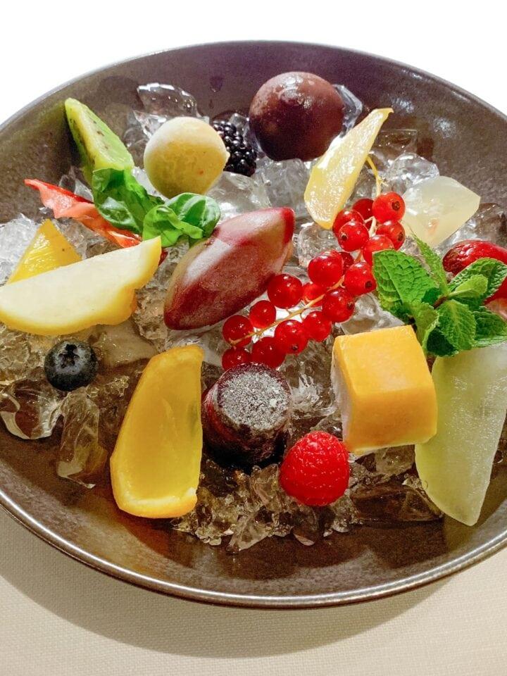 Interpretations of ice cream, sorbet, and fruit