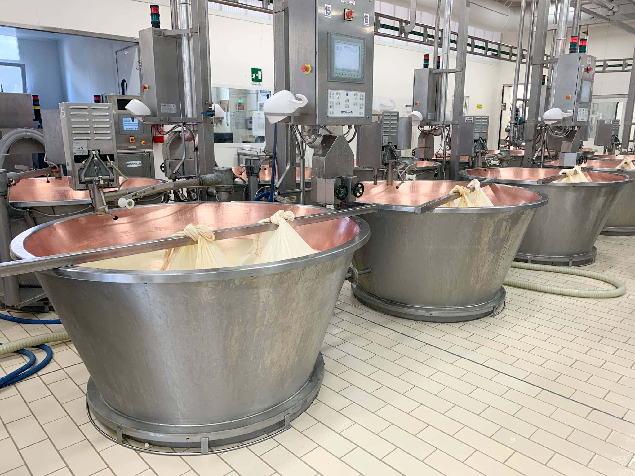 Milk being turned into cheese