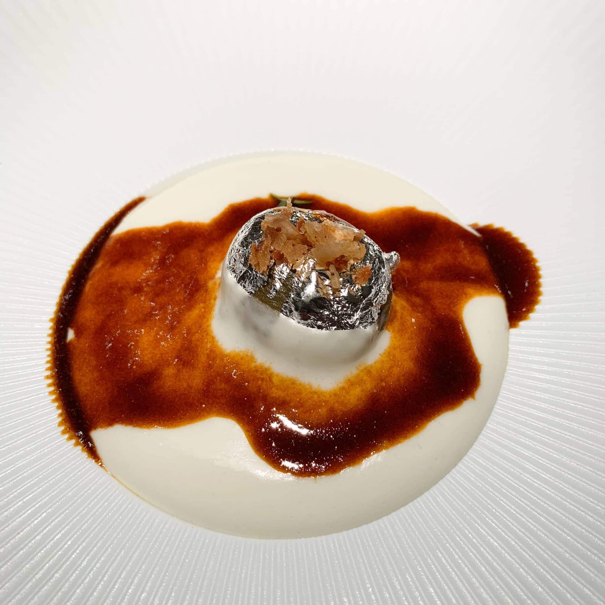 Potato with edible silver