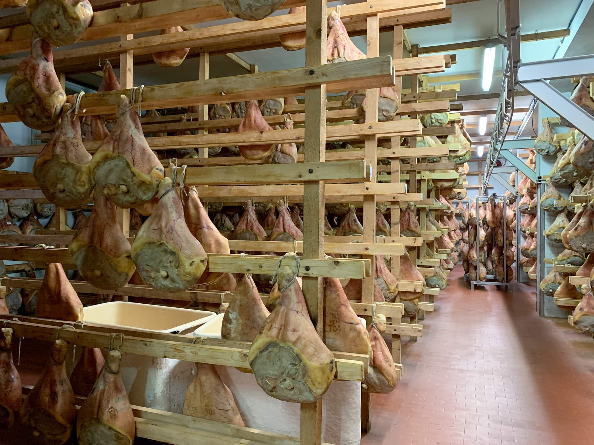Prosciutto ages in a small factory in Emilia-Romagna