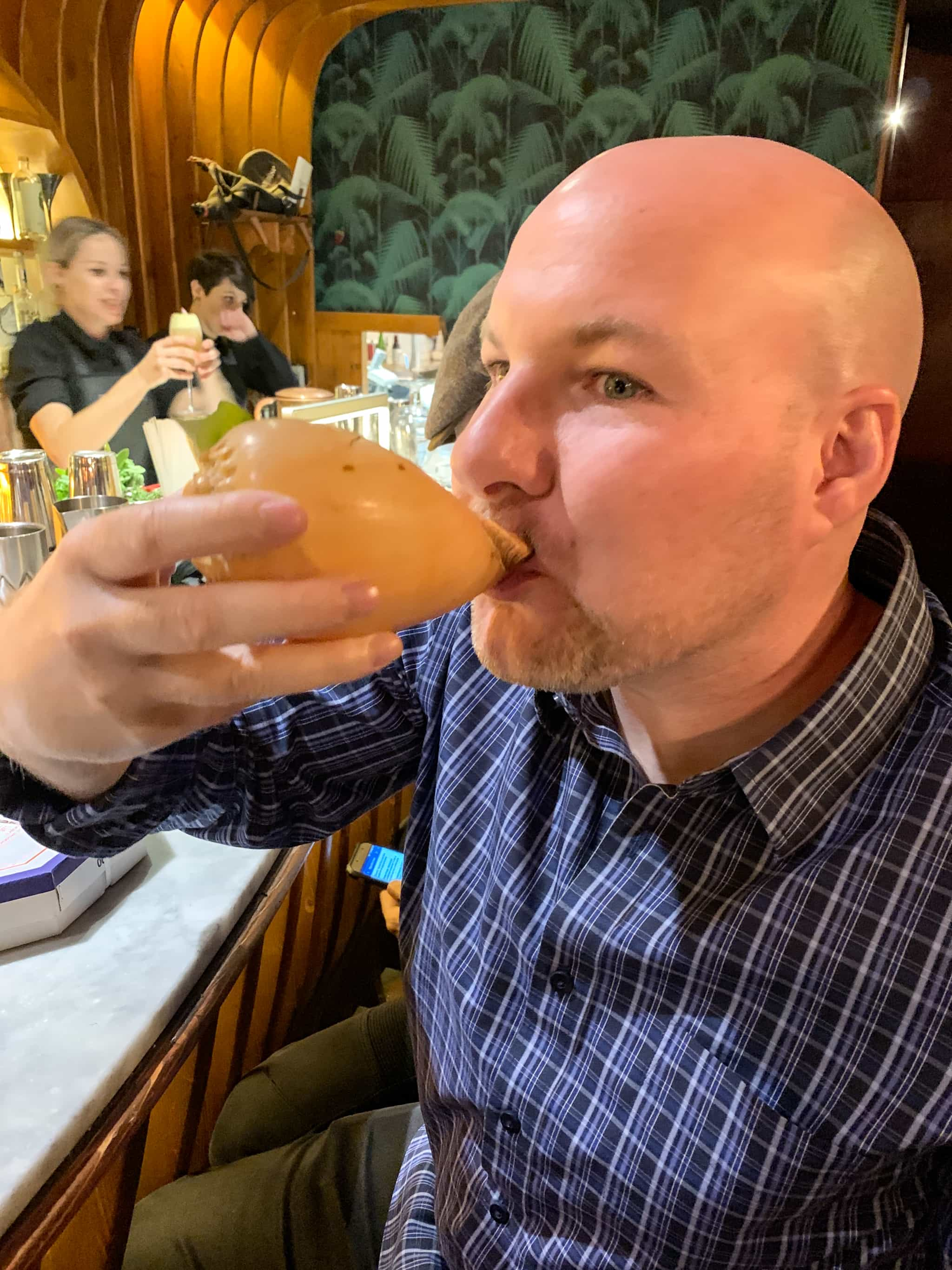 Drinking from a sea shell