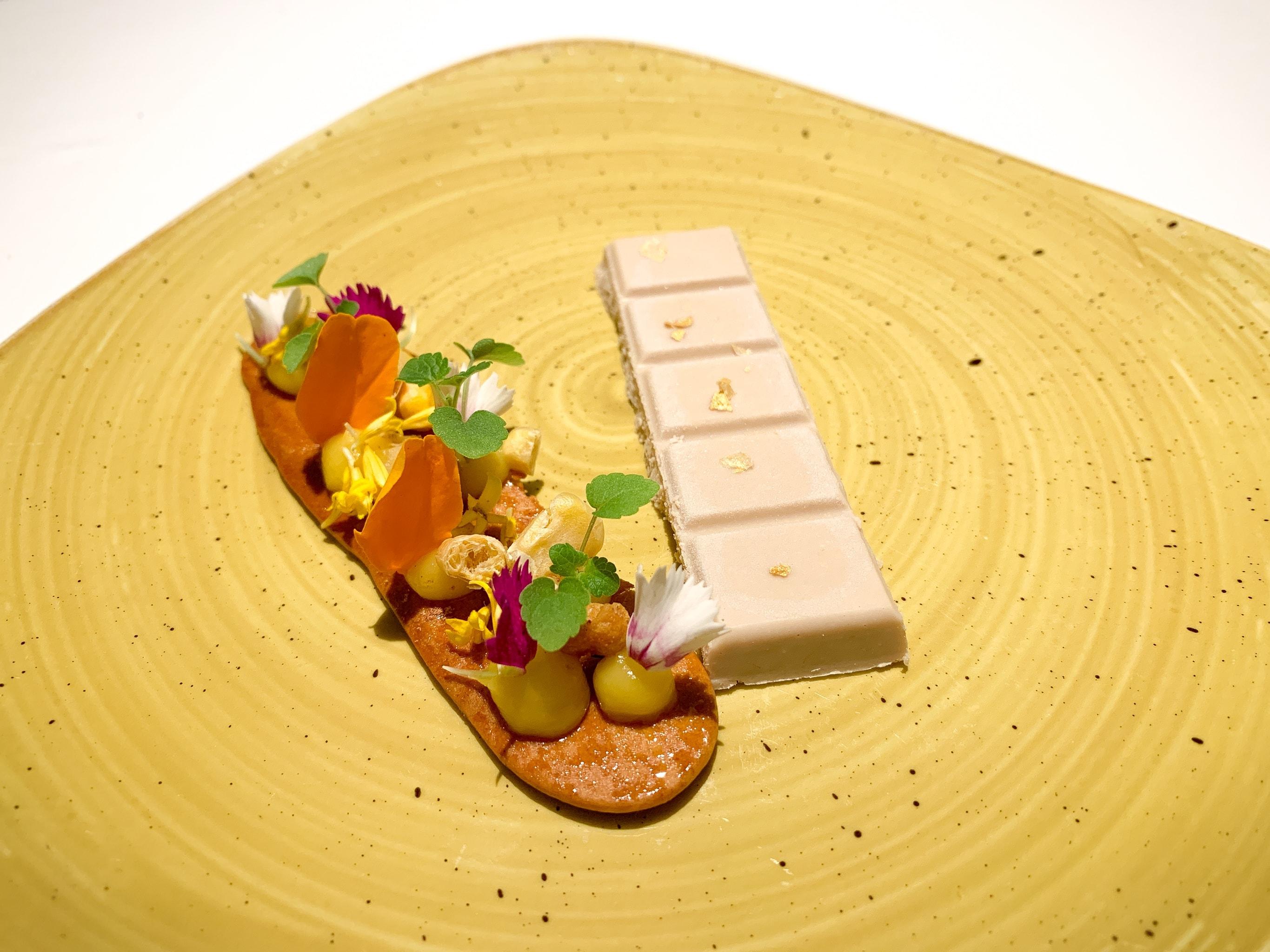 Duck foie gras, crunch sweet bread and corn textures