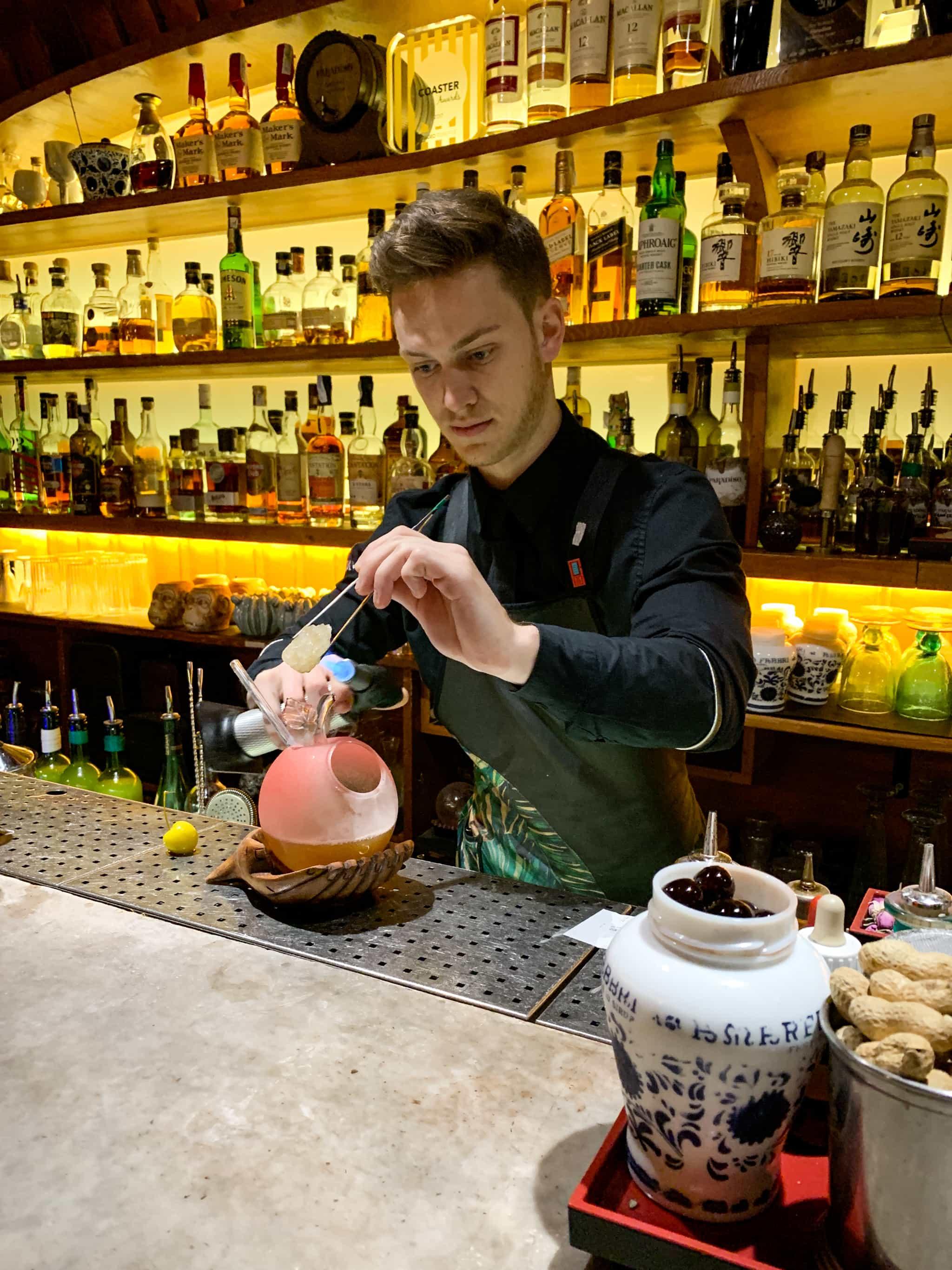 Mixing up a drink at Paradiso