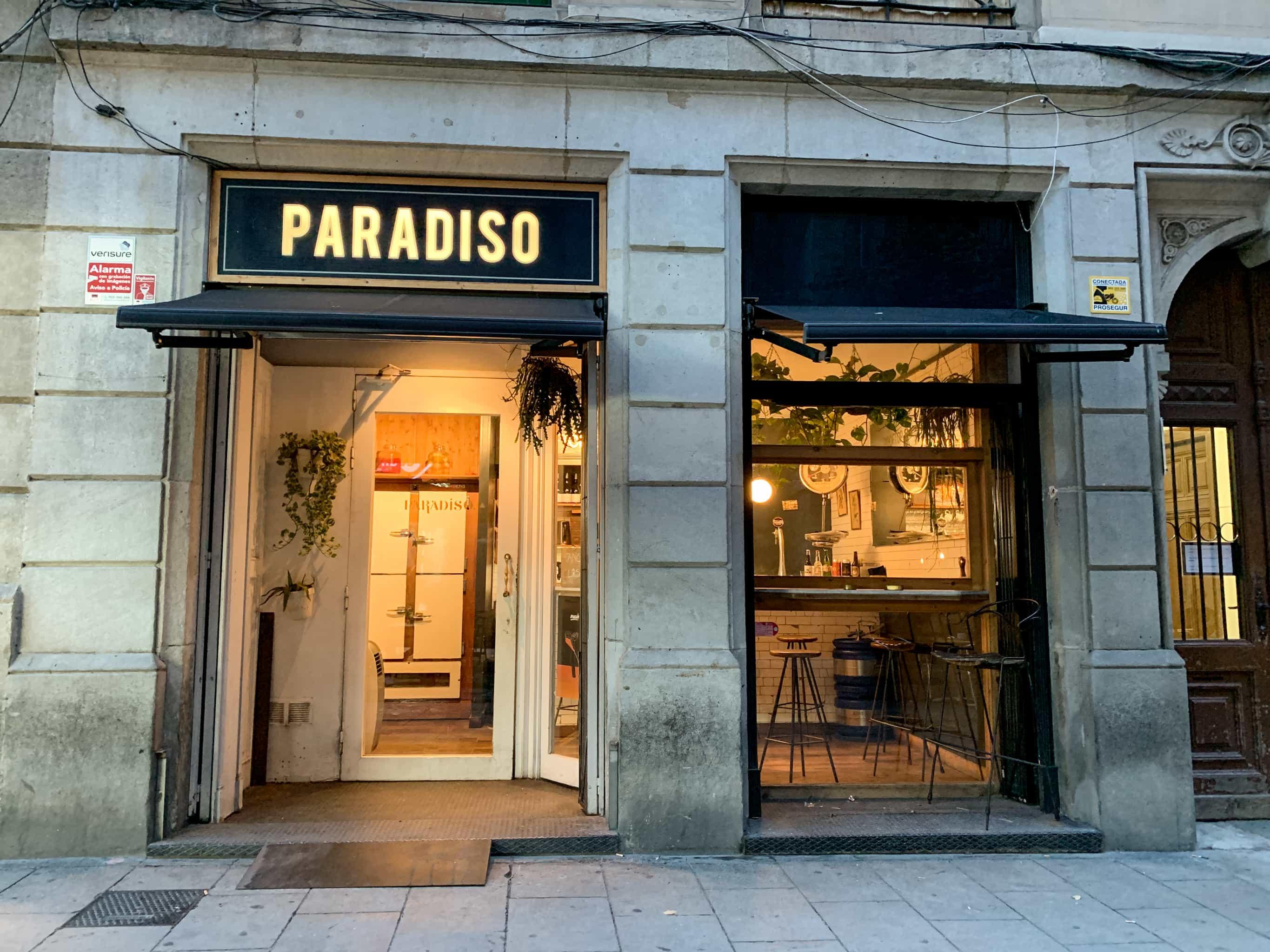 Entrance to Paradiso bar in Barcelona