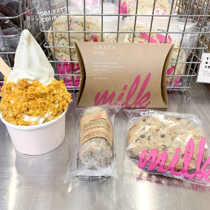 Milk bar ice cream, cake balls, composte cookie, and crack pie