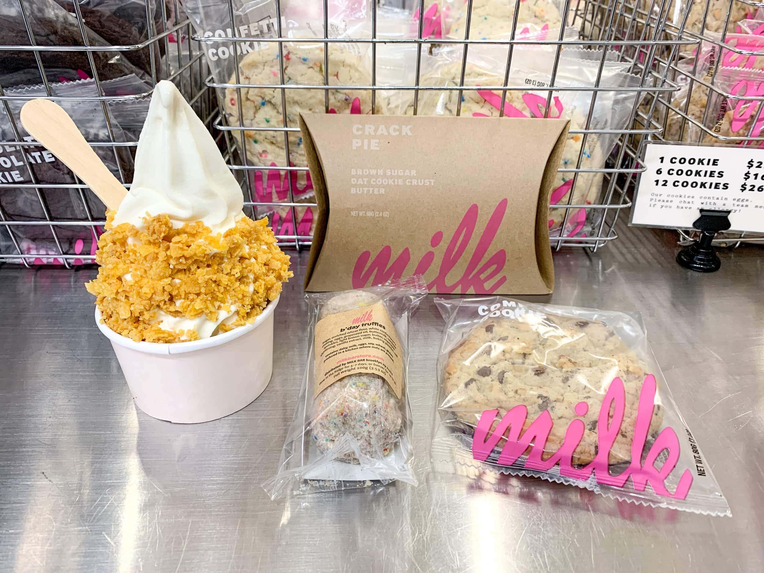 Milk bar ice cream, cake balls, composte cookie, and crack pie
