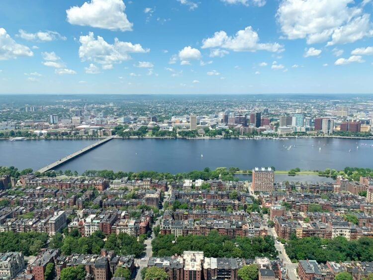 Boston (foreground) and Cambridge (across Charles River). View of Boston from Skywalk Observatory