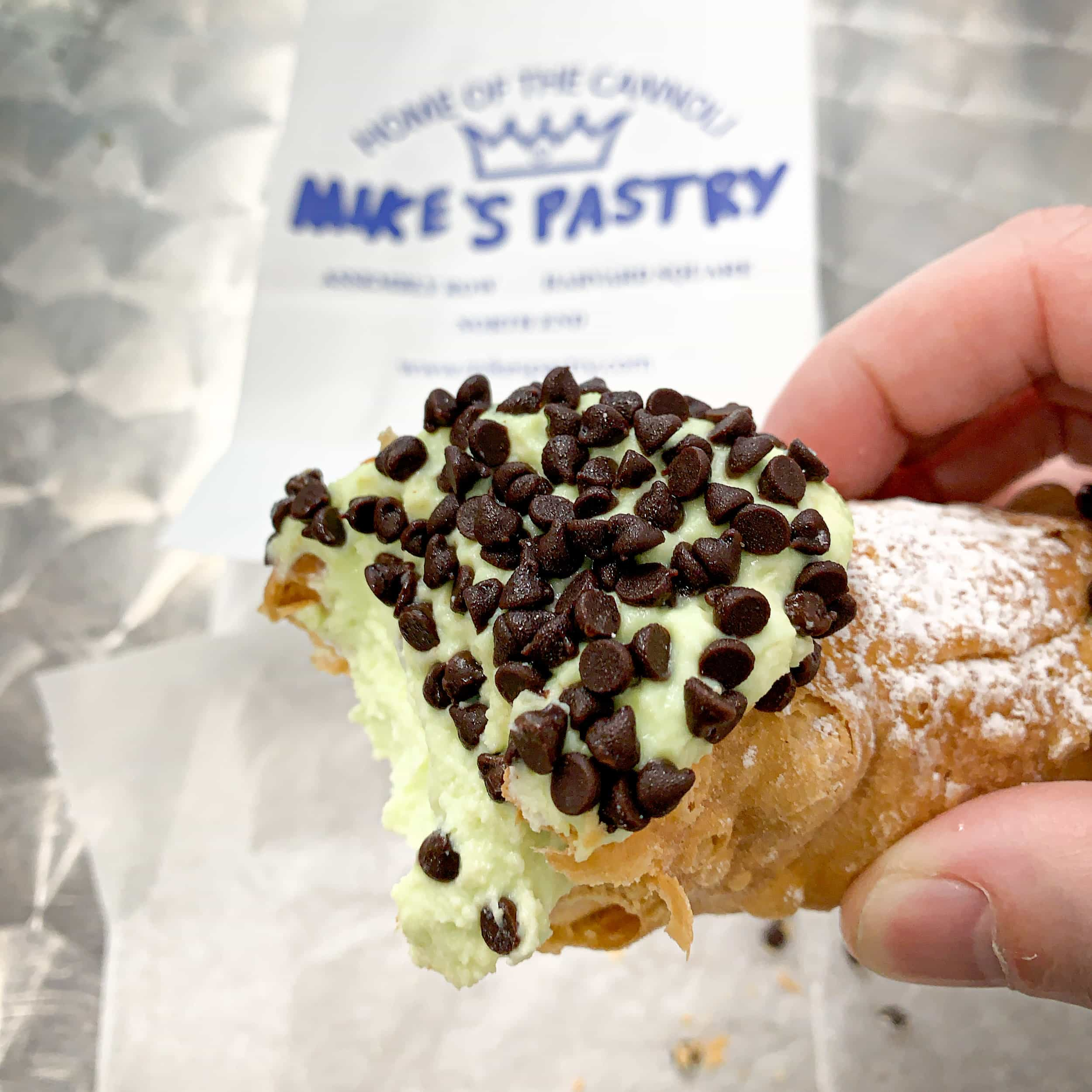 Mint chocolate chip cannoli is one of many delicious Boston foodie experiences you must try in the city.