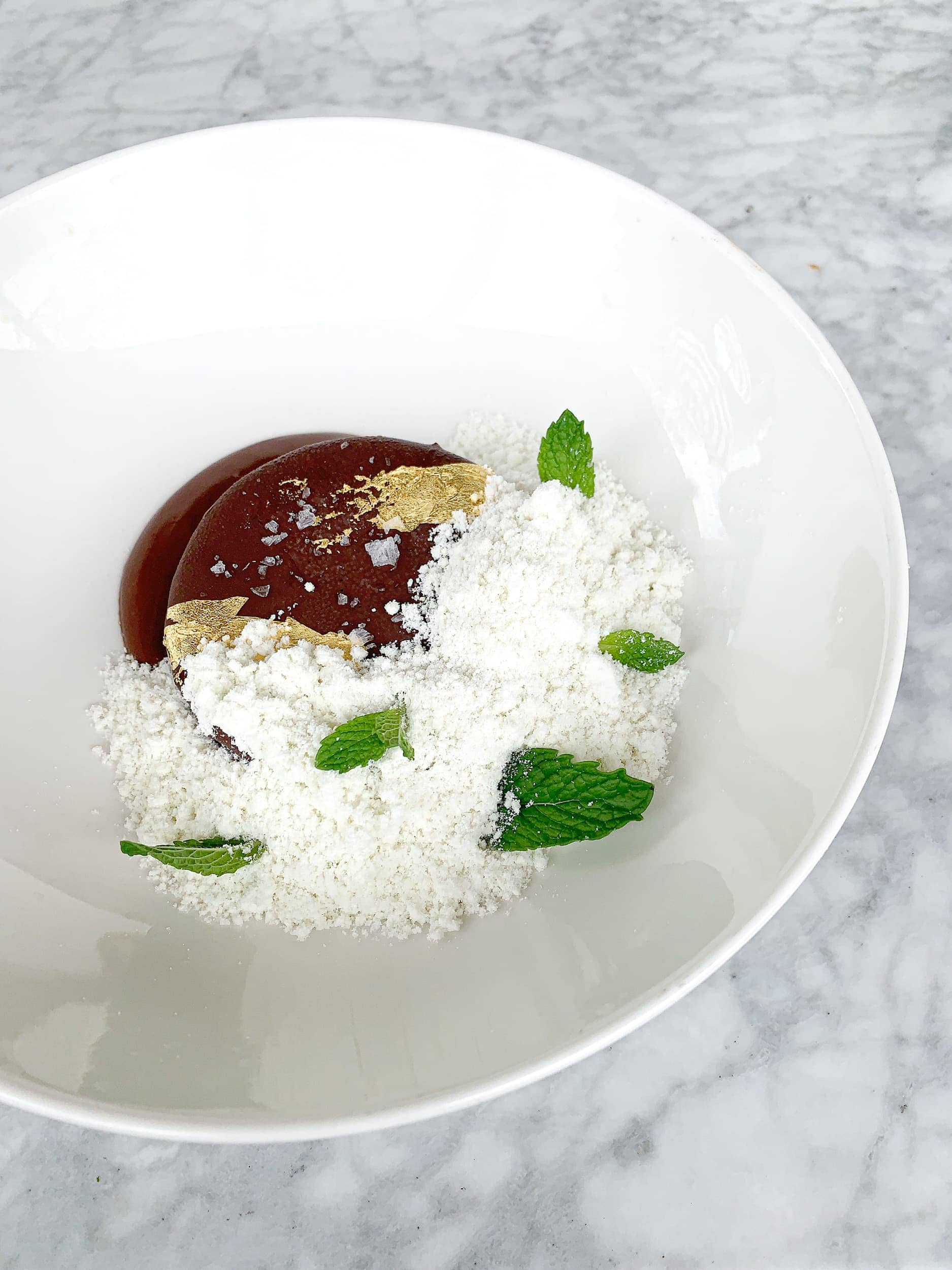 Mint white chocolate semifreddo with dark chocolate magic shell and fleur de sel