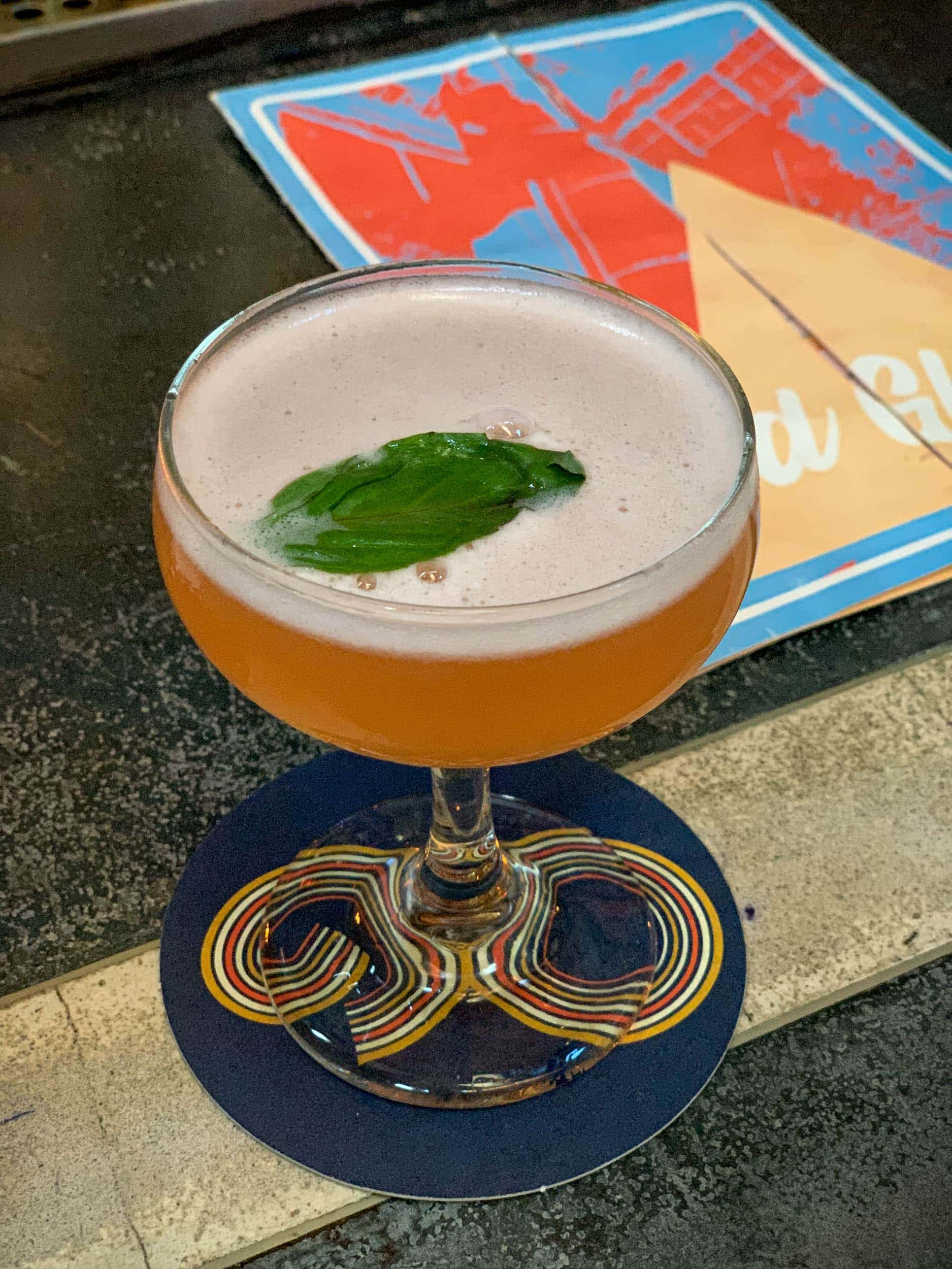 """Second Base"" with Ford's Gin, lavender, cucumber, Thai basil, Aperol, lime"