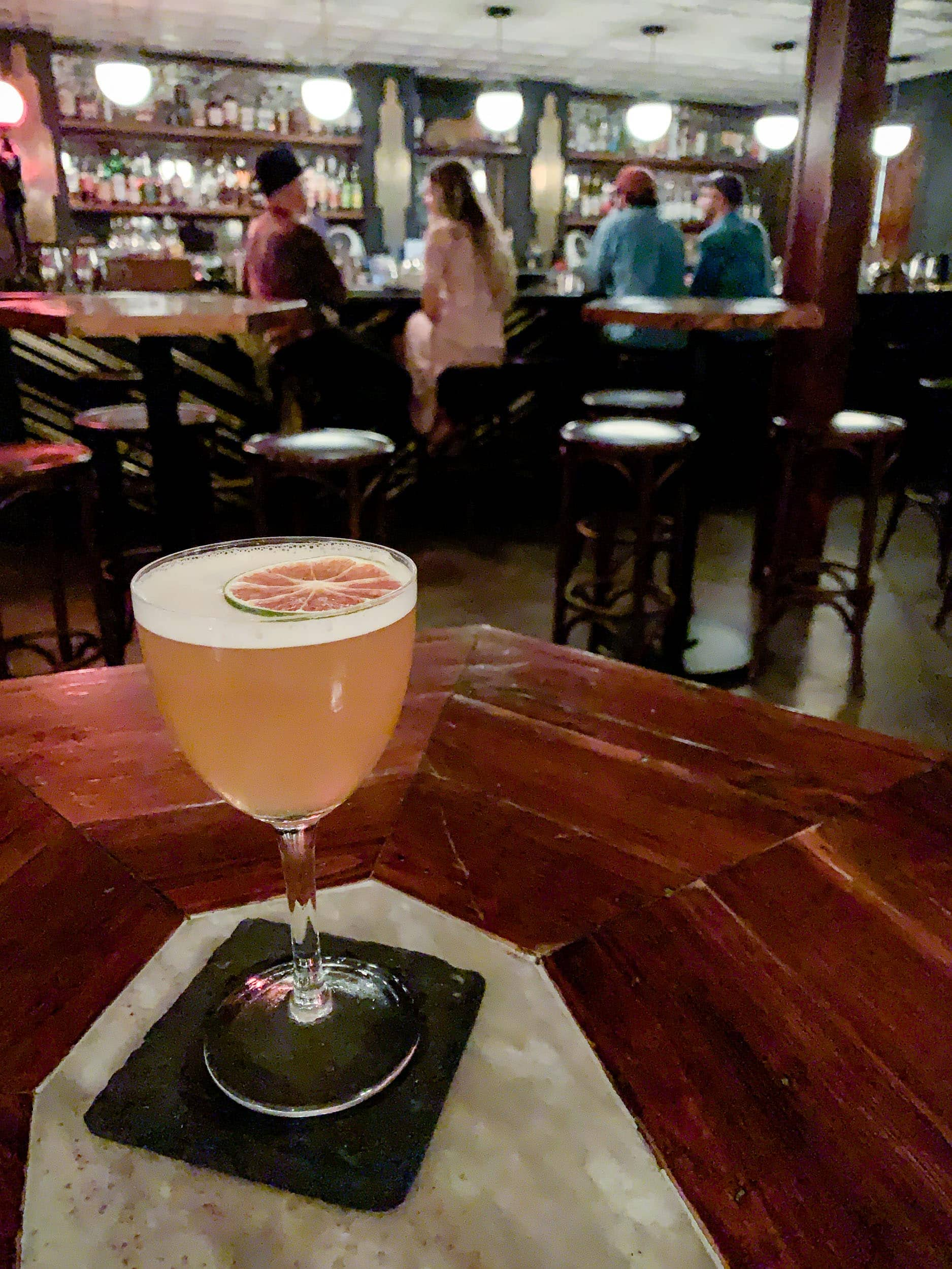 Fox daquiri with Appleton Reserve, Rhum Clement, El Dorado 5 Rums, lime stock, pineapple skins, sea salt, sugar, and lime oil