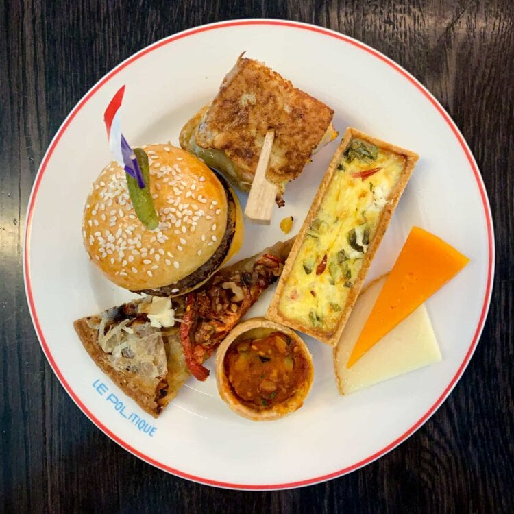 Pastries and cheeses from Le Politique 's Bastille Day brunch buffet