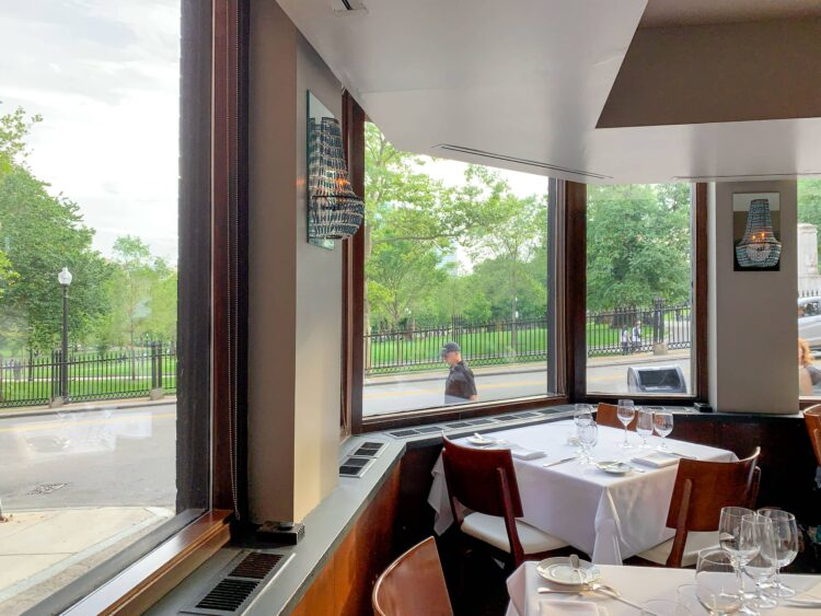 View of Boston Commons at No. 9 Park restaurant