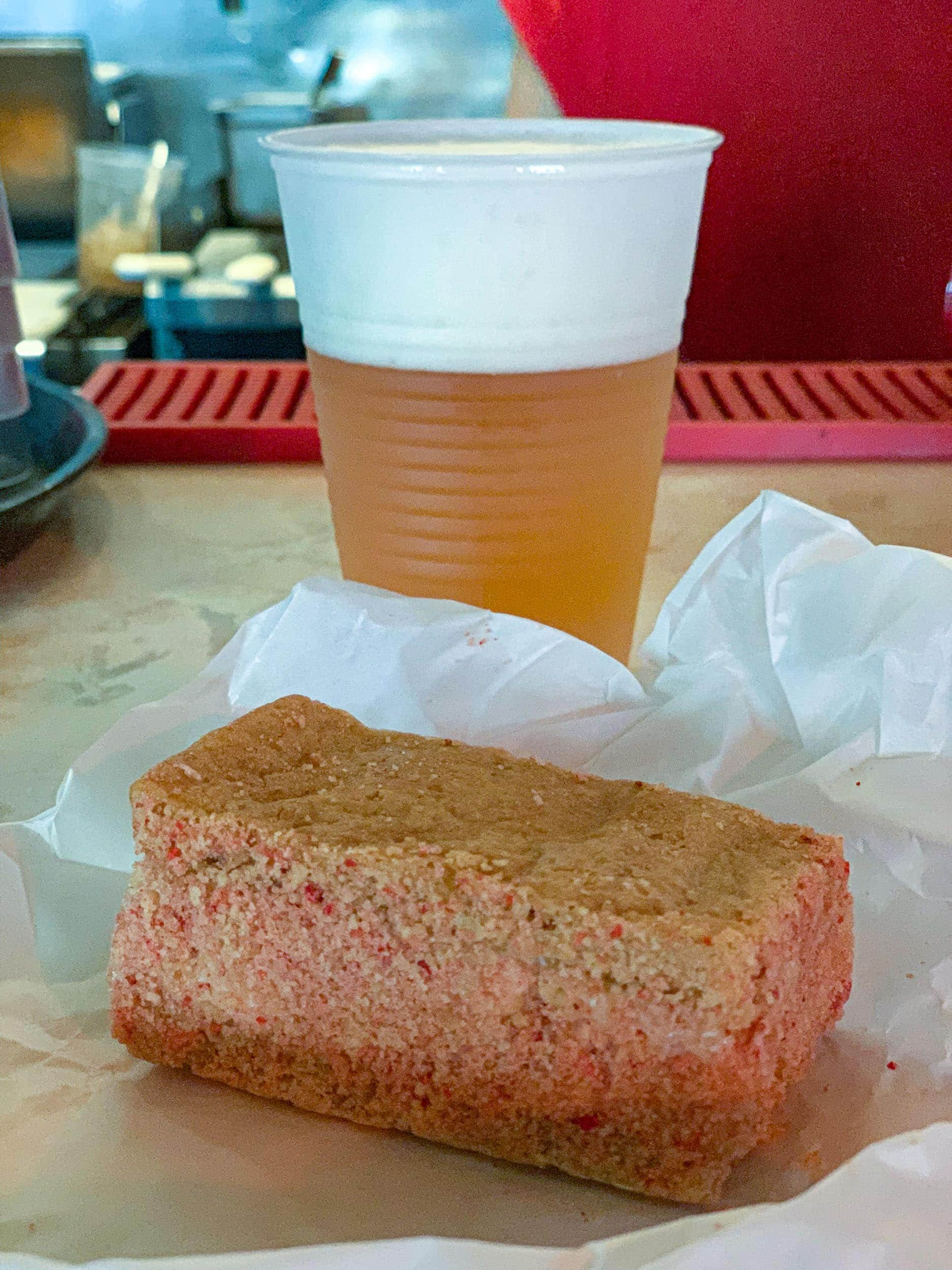 Local beer and strawberry shortcake ice cream sandwich