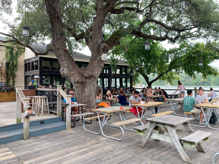 Mozart's massive deck qualifies it as one of the best coffee shops in Austin