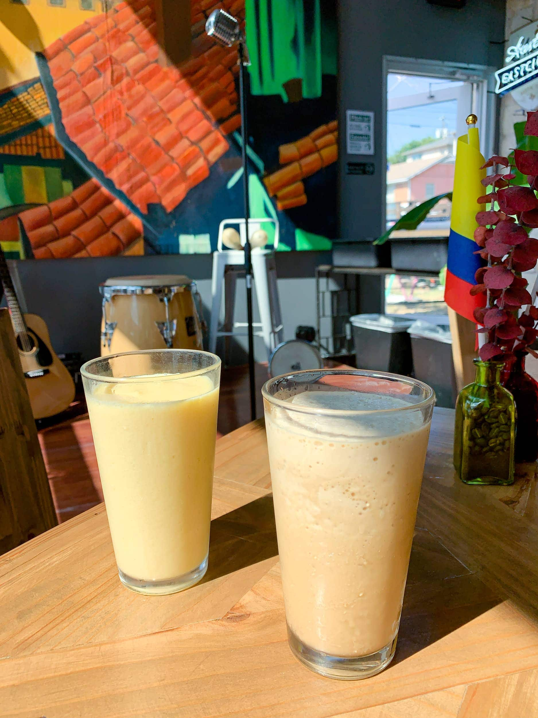 Fruit smoothie and iced coffee at Plaza Colombian Coffee