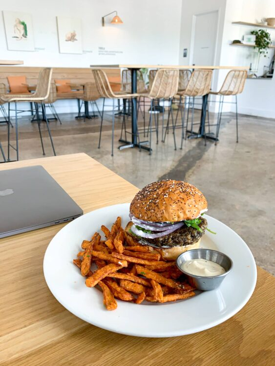 Veggie burger and sweet potato fries at Hank's
