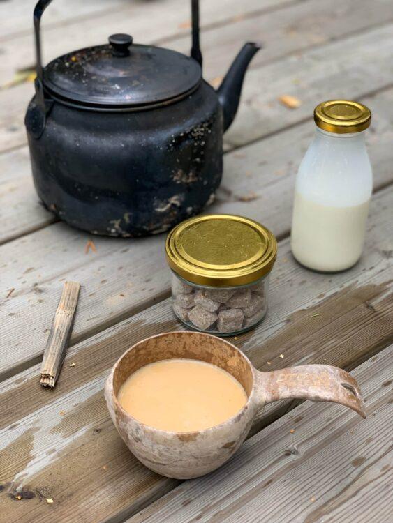 Coffee, milk, and brown sugar