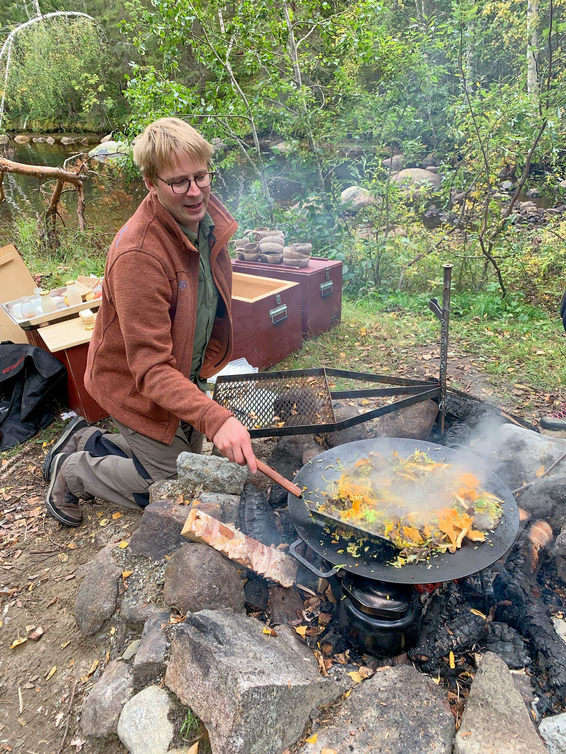 Cooking moose, a traditional Swedish food in Lapland