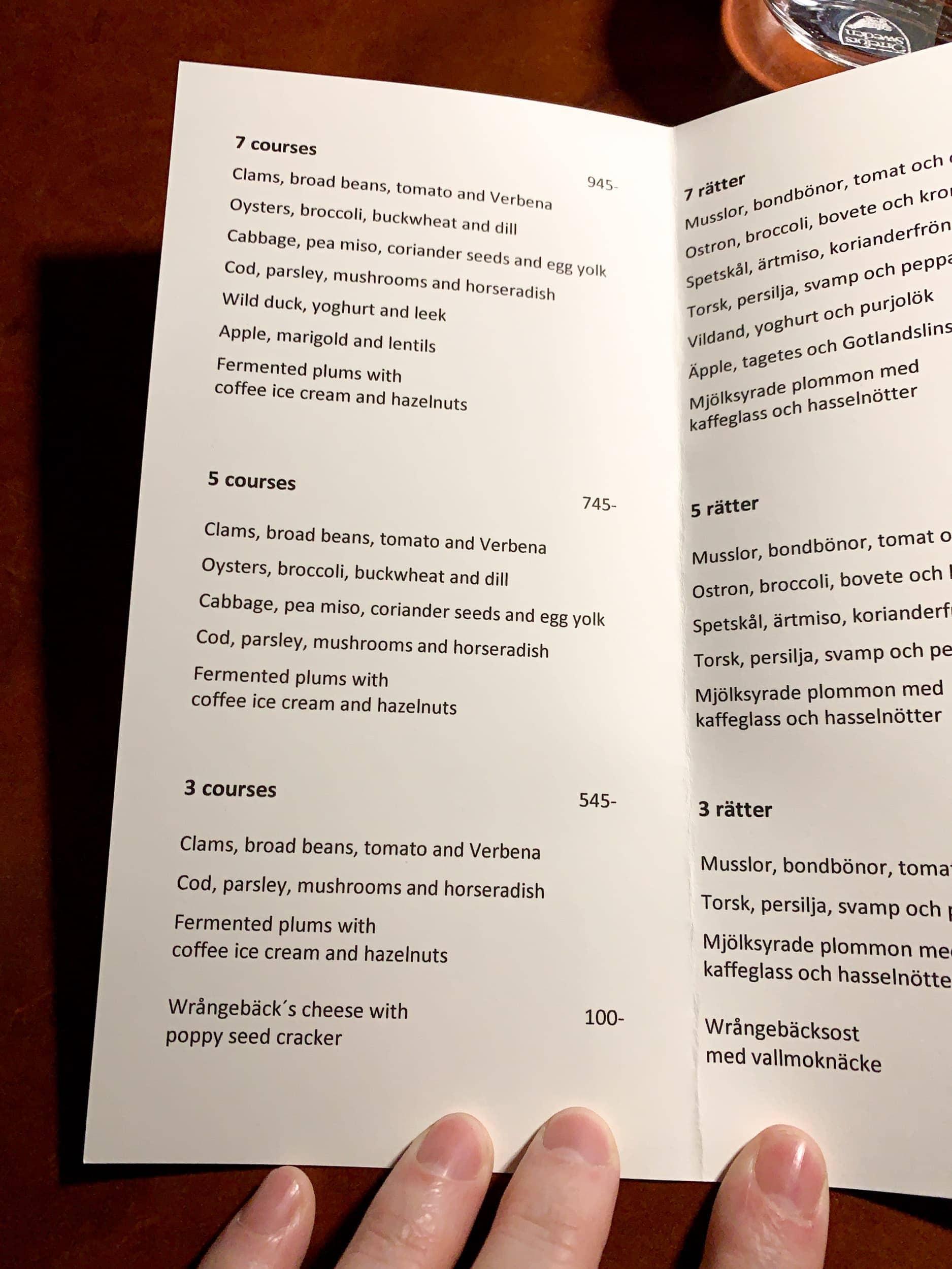 Koka's Fall 2019 menu