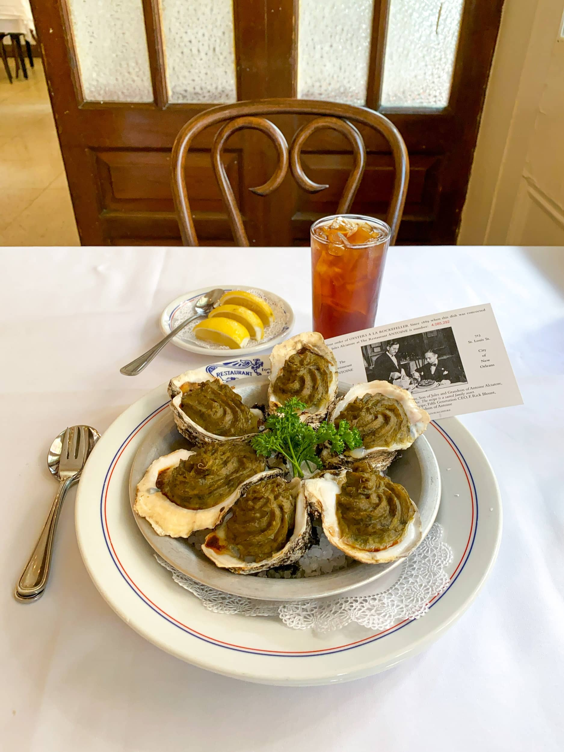 Oyster's Rockefeller at Antoine's Restaurant in the French Quarter