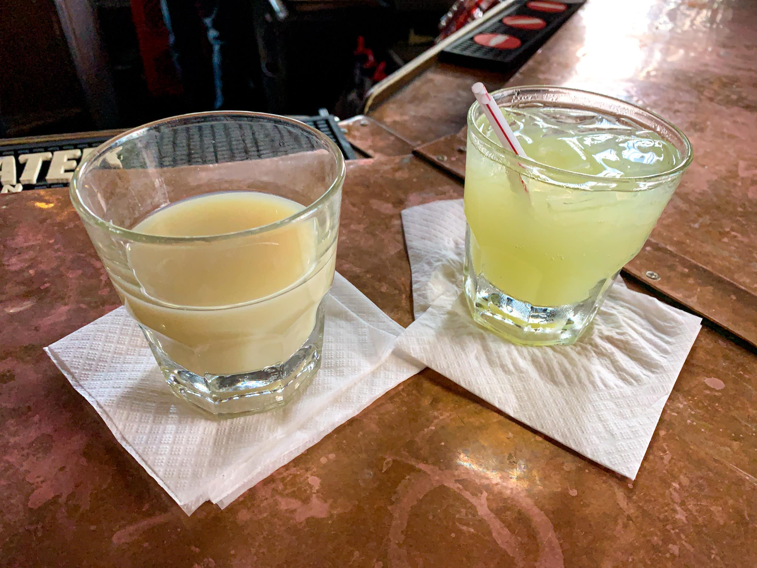 St. George Absinthe Verte (left, 120 proof) and an absinthe frappe (right)