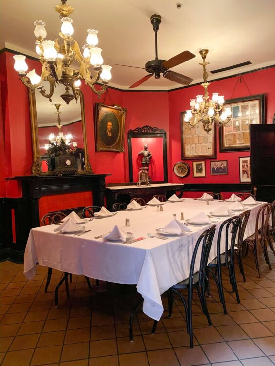 1840 dining room at Antoine's Restaurant in New Orleans
