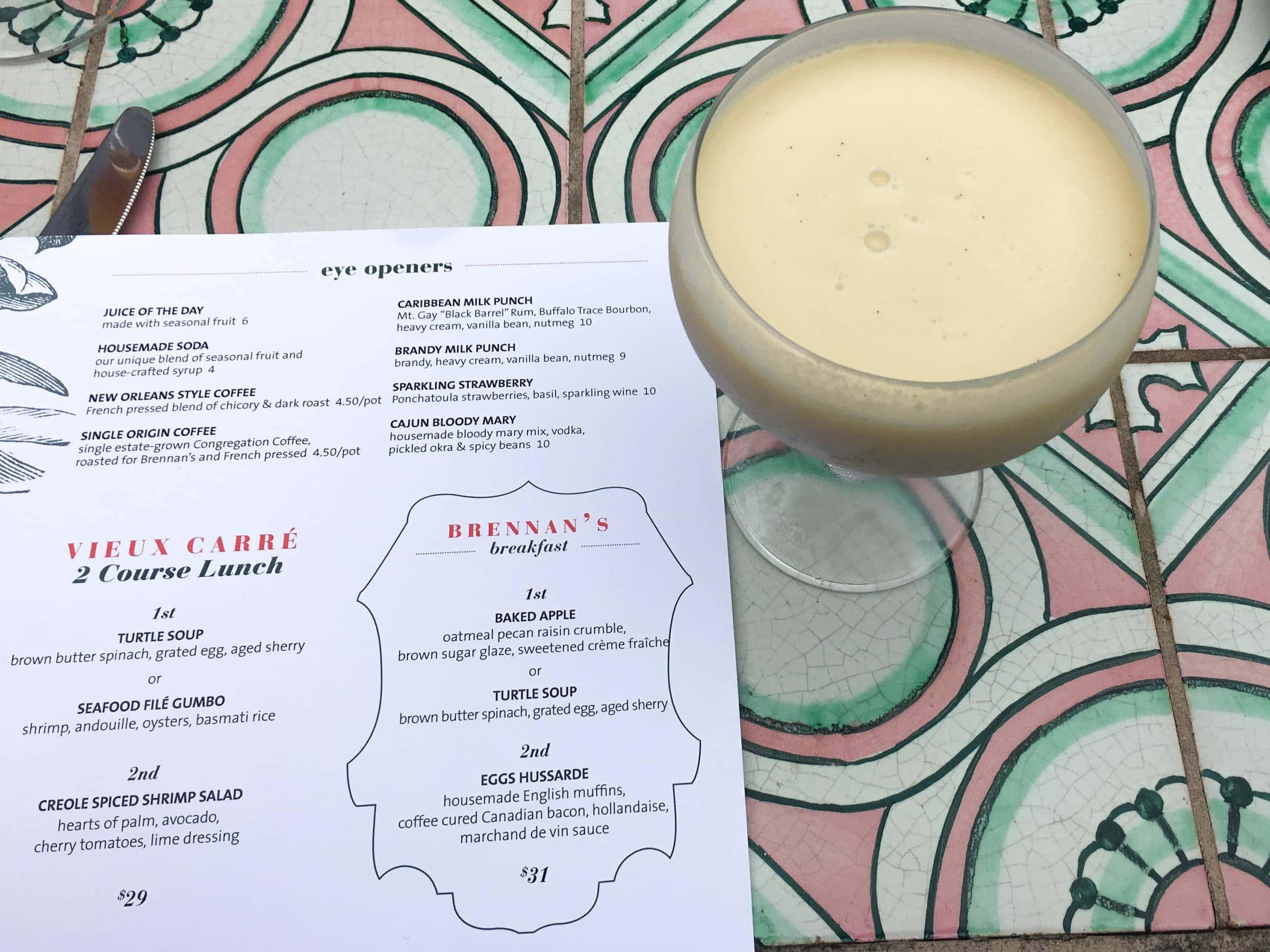 Caribbean milk punch and the breakfast menu at Brennan's