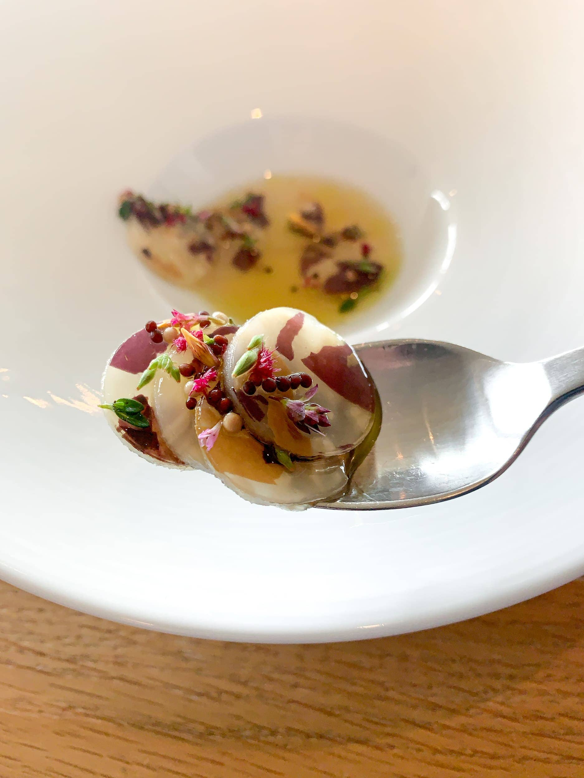 A spoonful of lightly pickled celeriac and seeds