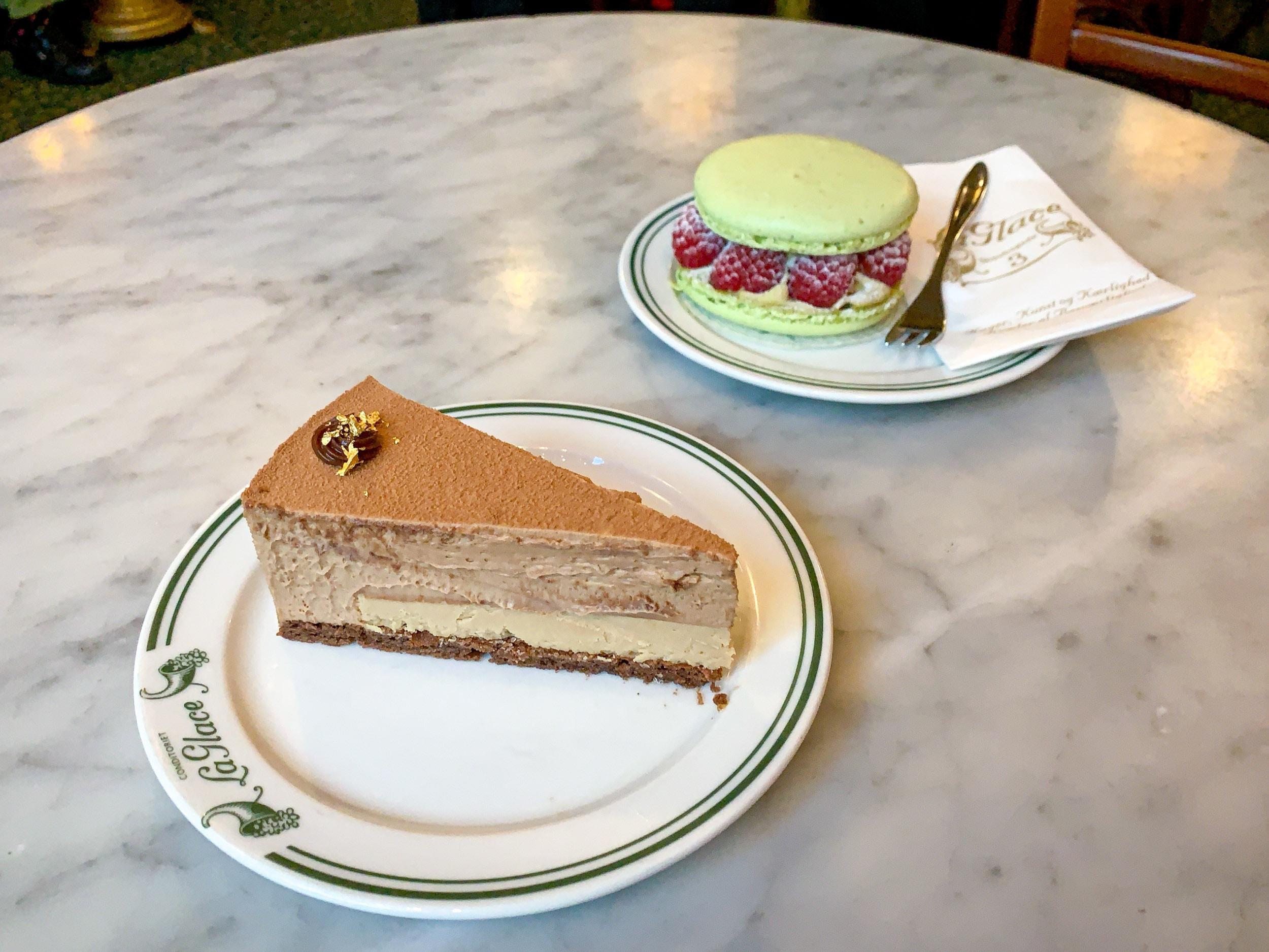 Caramel mousse cake and pistachio macarons