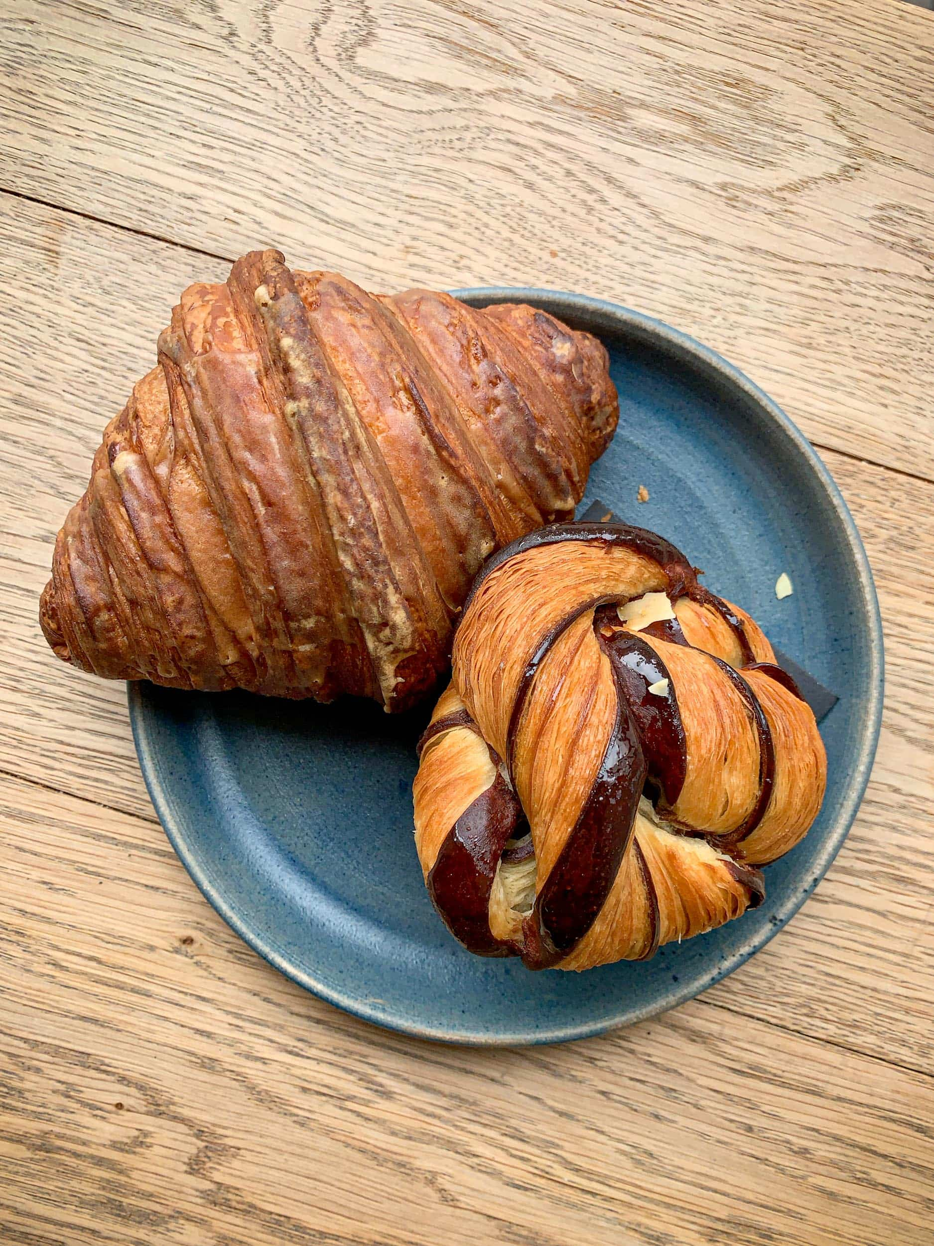 Espresso croissant and chocolate swirl croissant at Andersen & Maillard