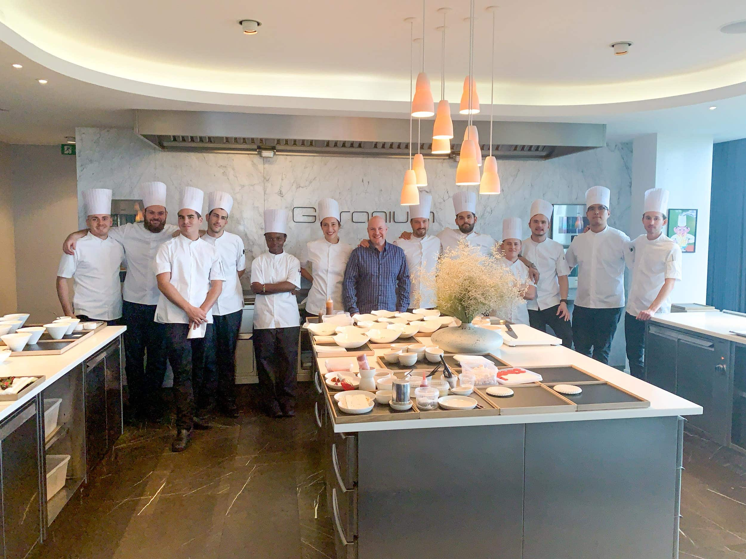 Dave with chefs at Geranium in Copenhagen