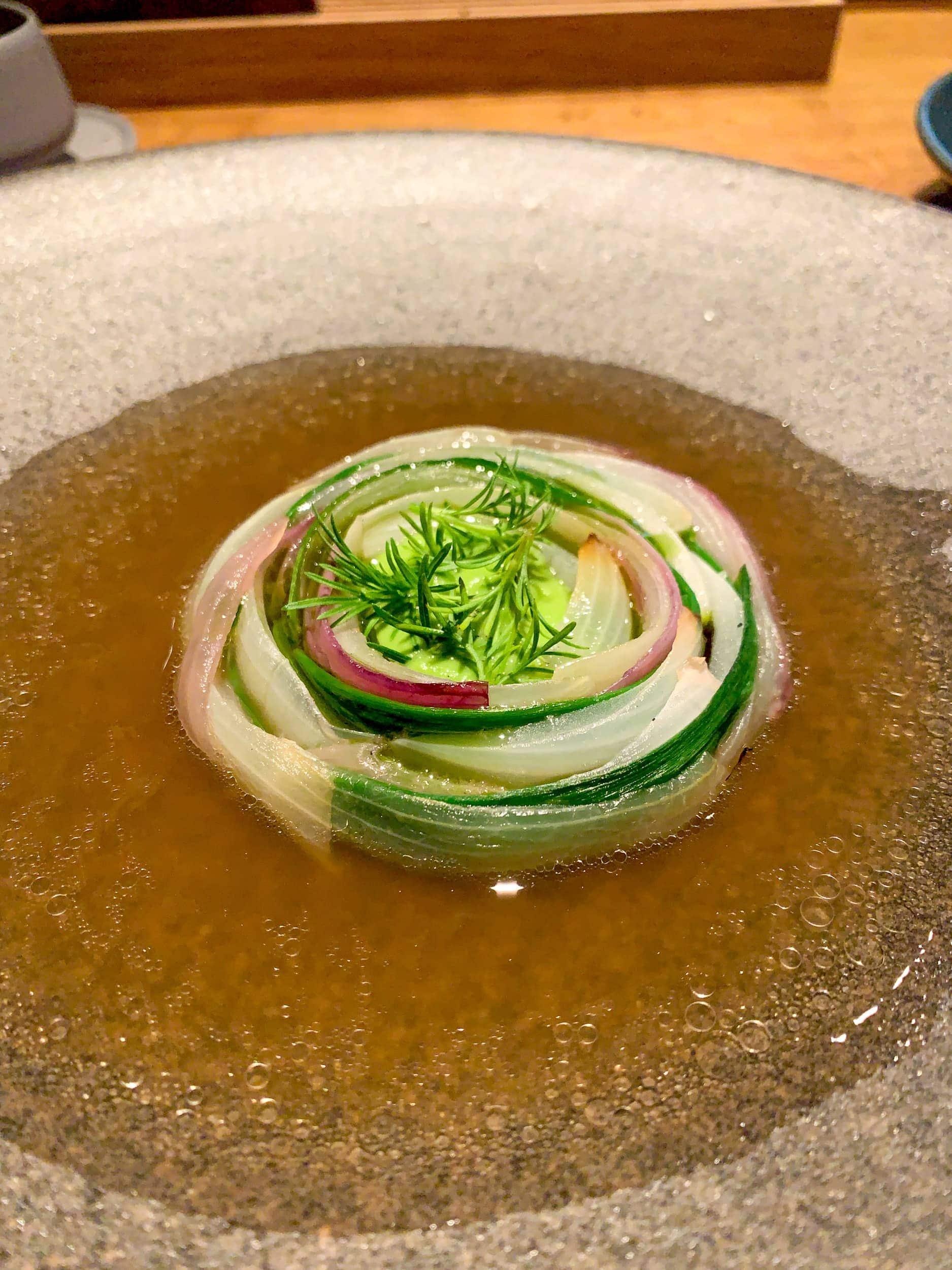 Onion in lamb broth