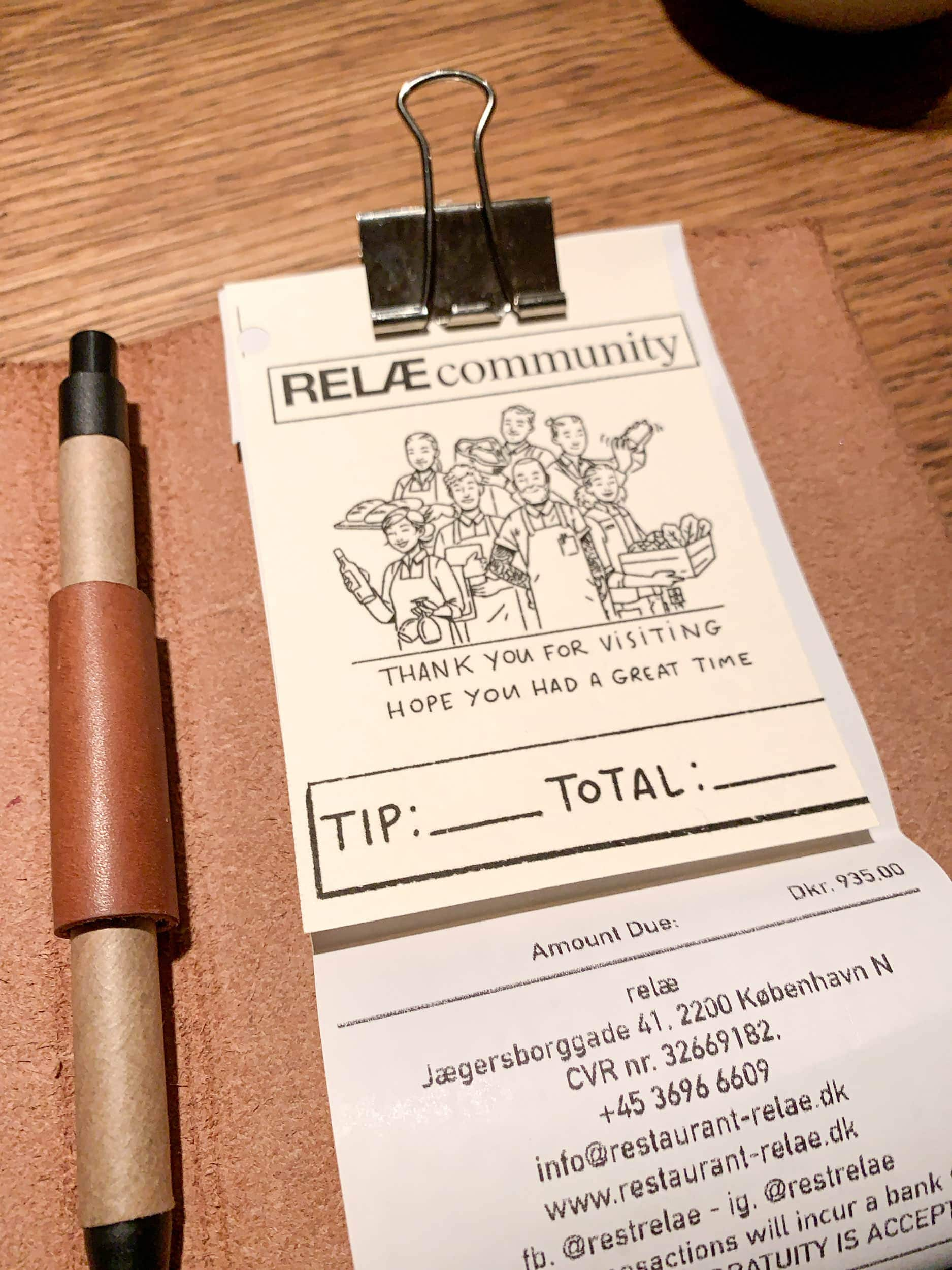 The check at Restaurant Relae
