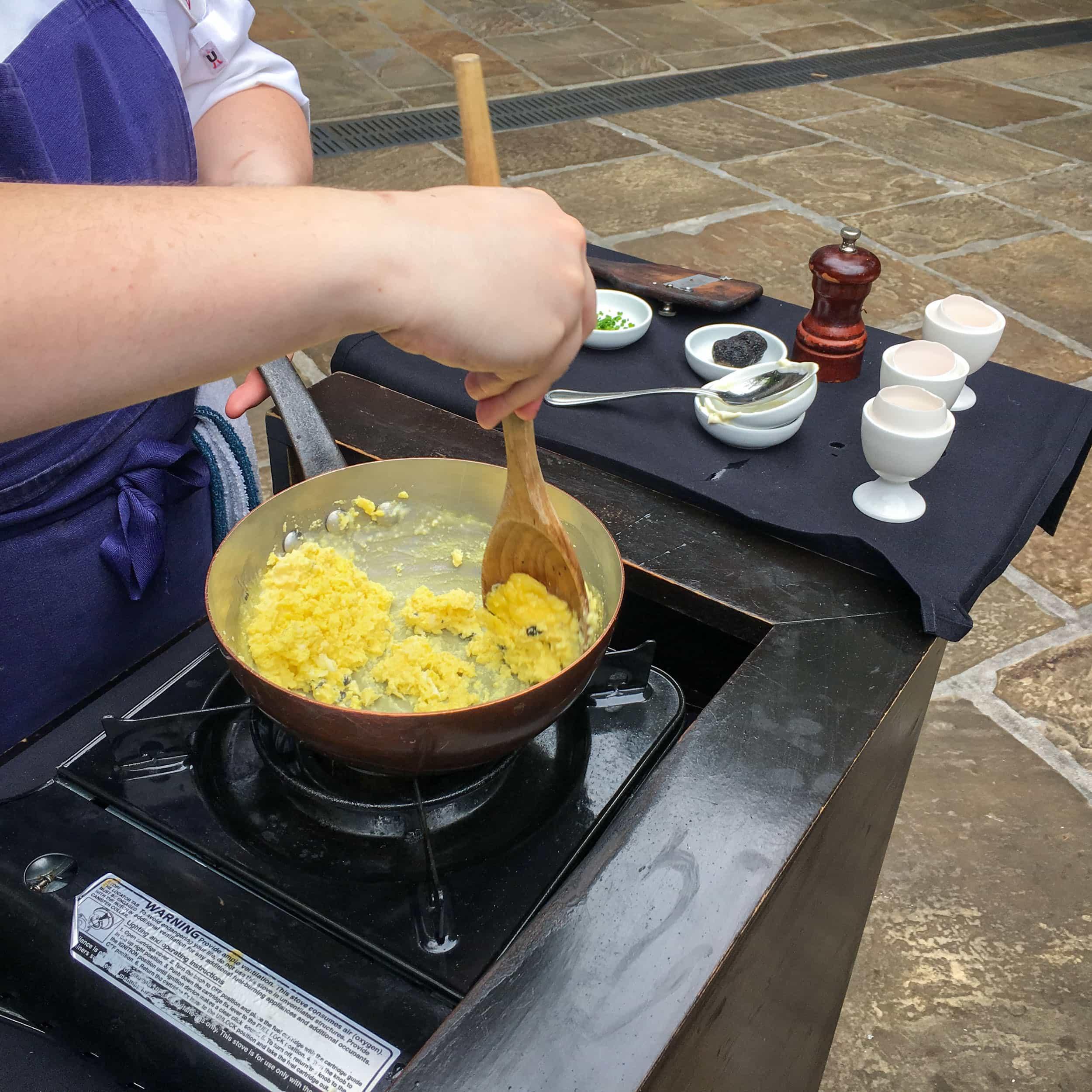 Scrambled eggs prepared tableside