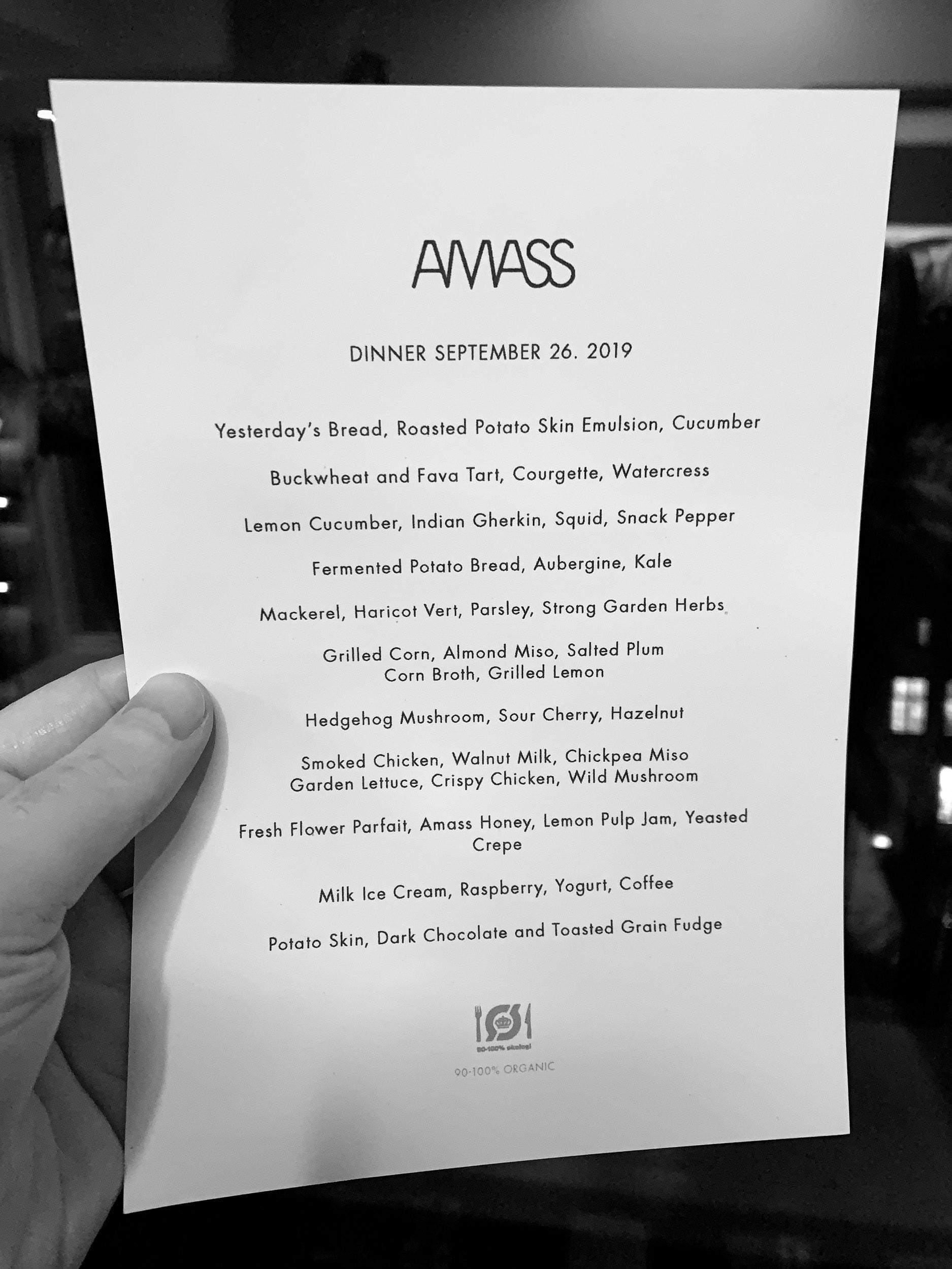 Amass dinner menu