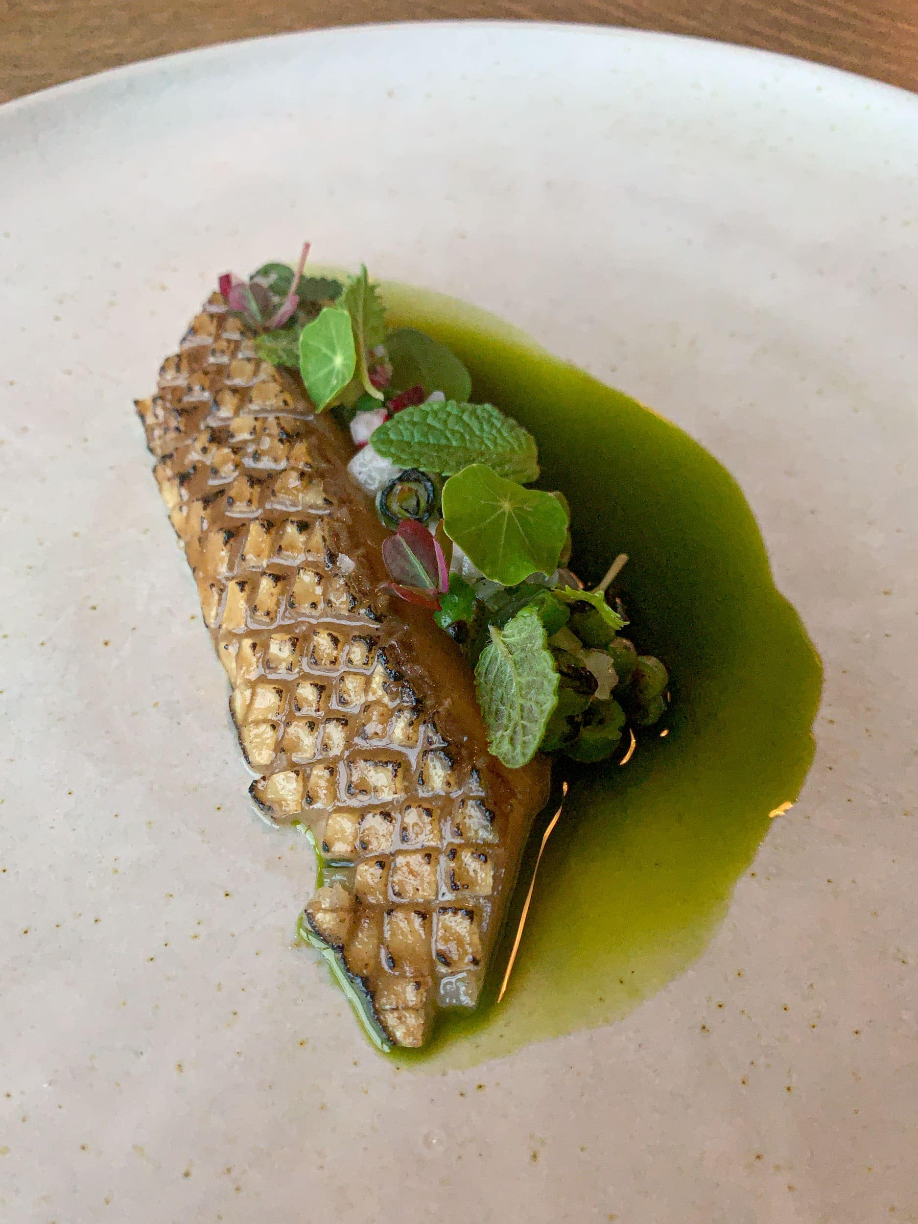 Mackerel, haricot vert, parsley, and garden herbs