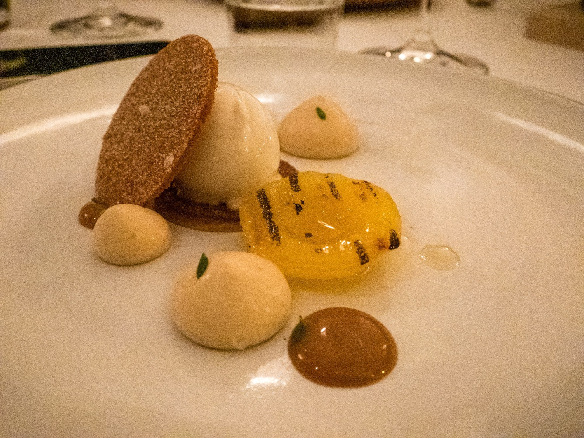 Grilled apricots with sorbet at Eleven Madison Park