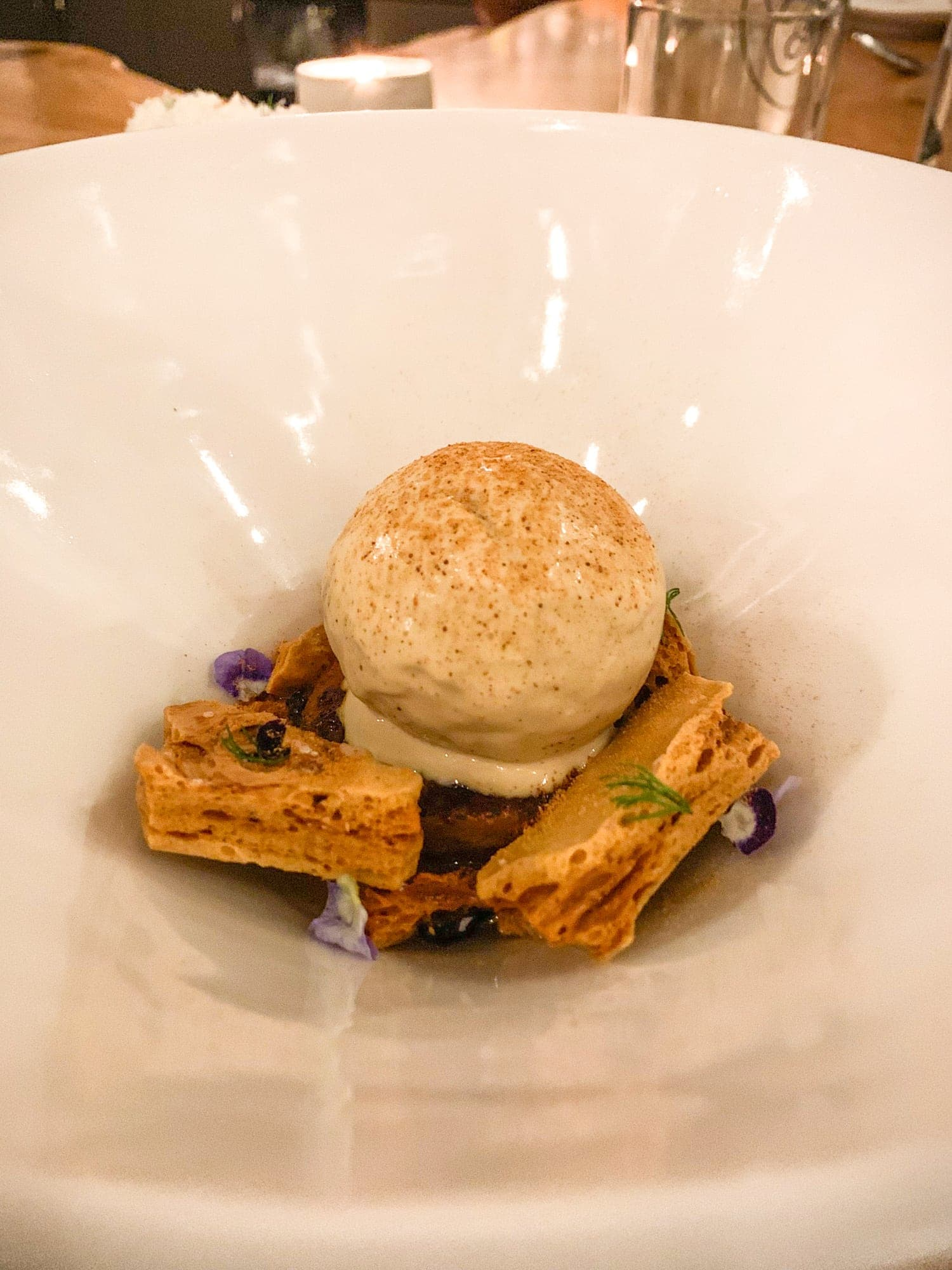 Black garlic caramel ice cream with Nukazuke sweet potato, honeycomb, and wildflower