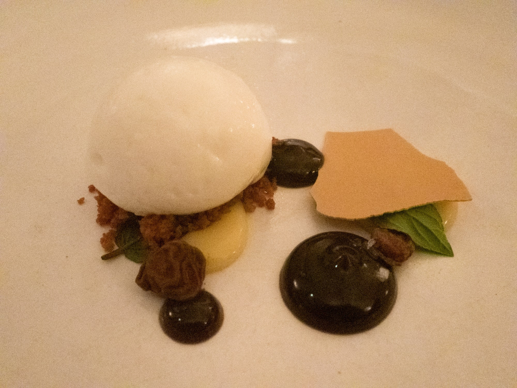 Sorbet and cherries with coffee