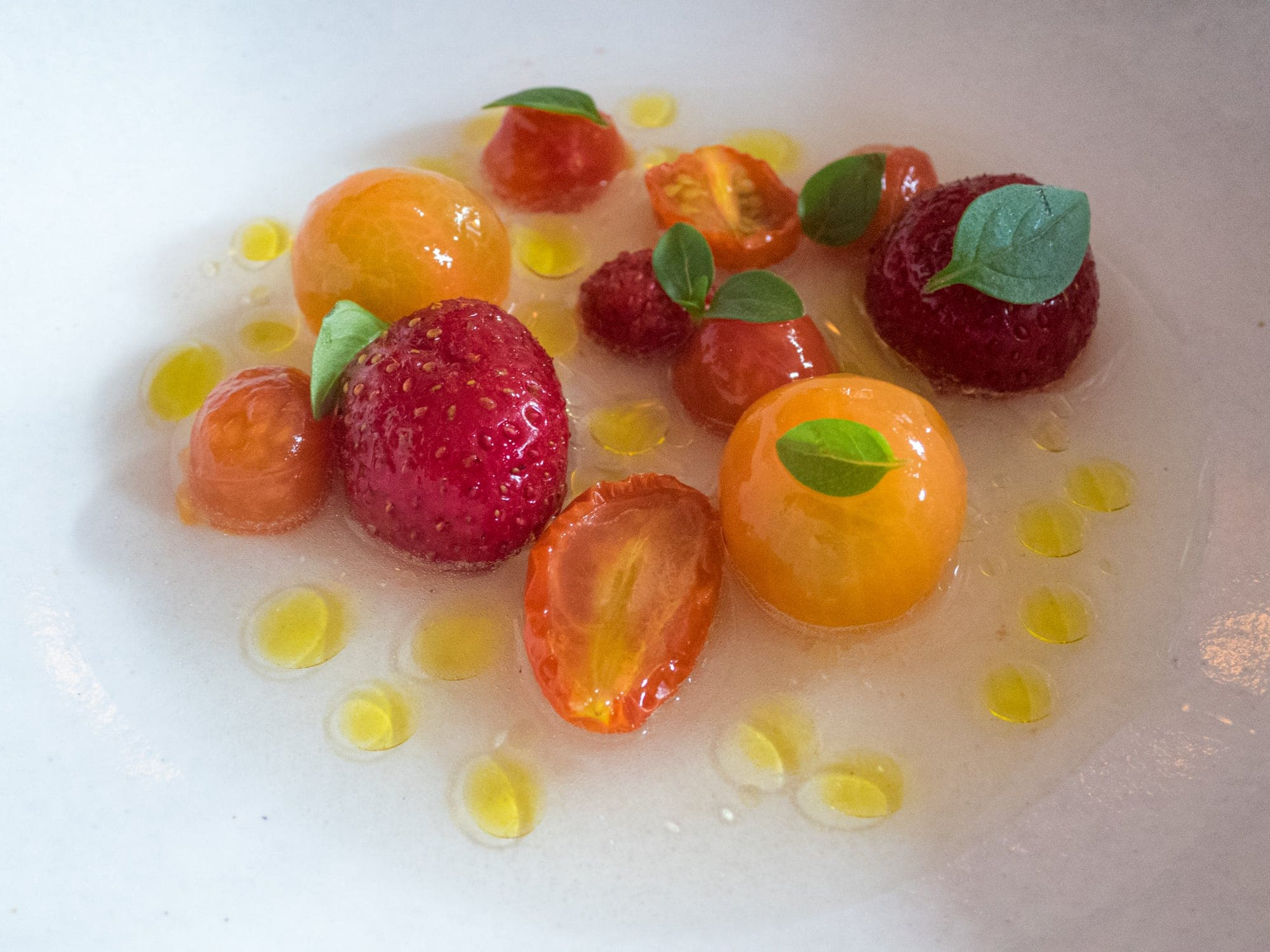 Tomatoes and strawberries at Eleven Madison Park