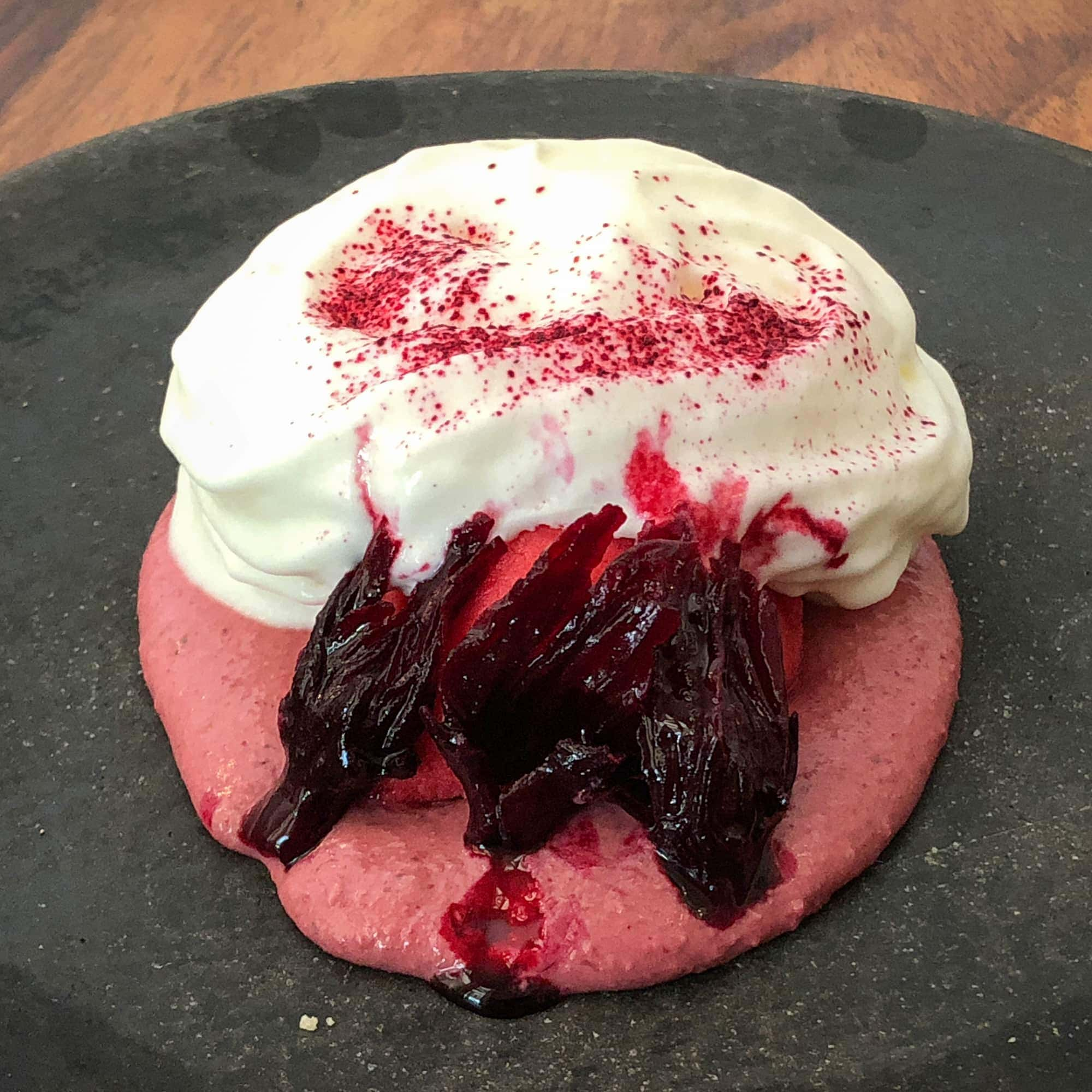 Pink mole, hibiscus flower, yogurt foam, raspberry sorbet
