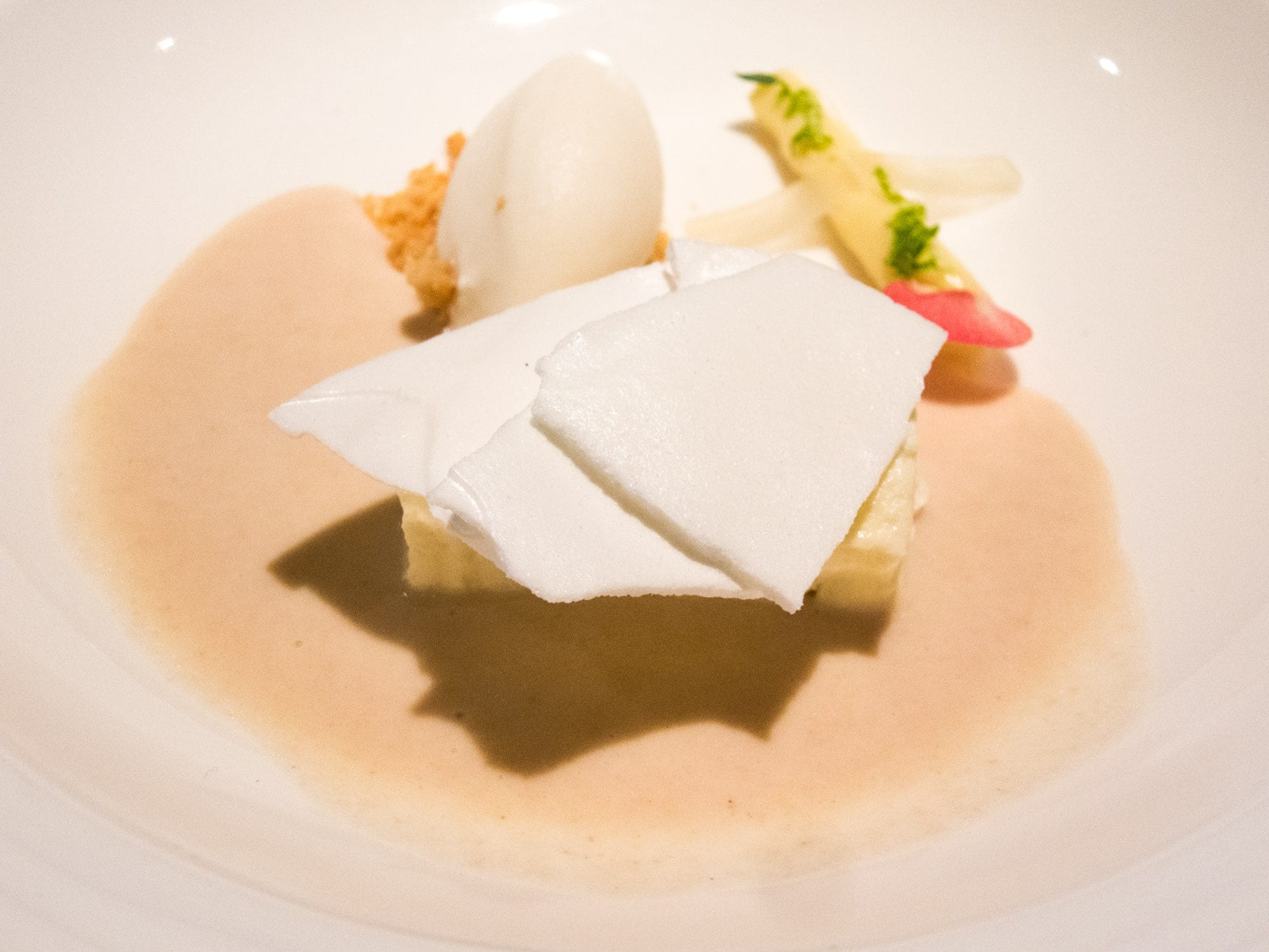 Thyme glazed biscuit, lemon gelatin, ice cream, cookie soup, and white chocolate