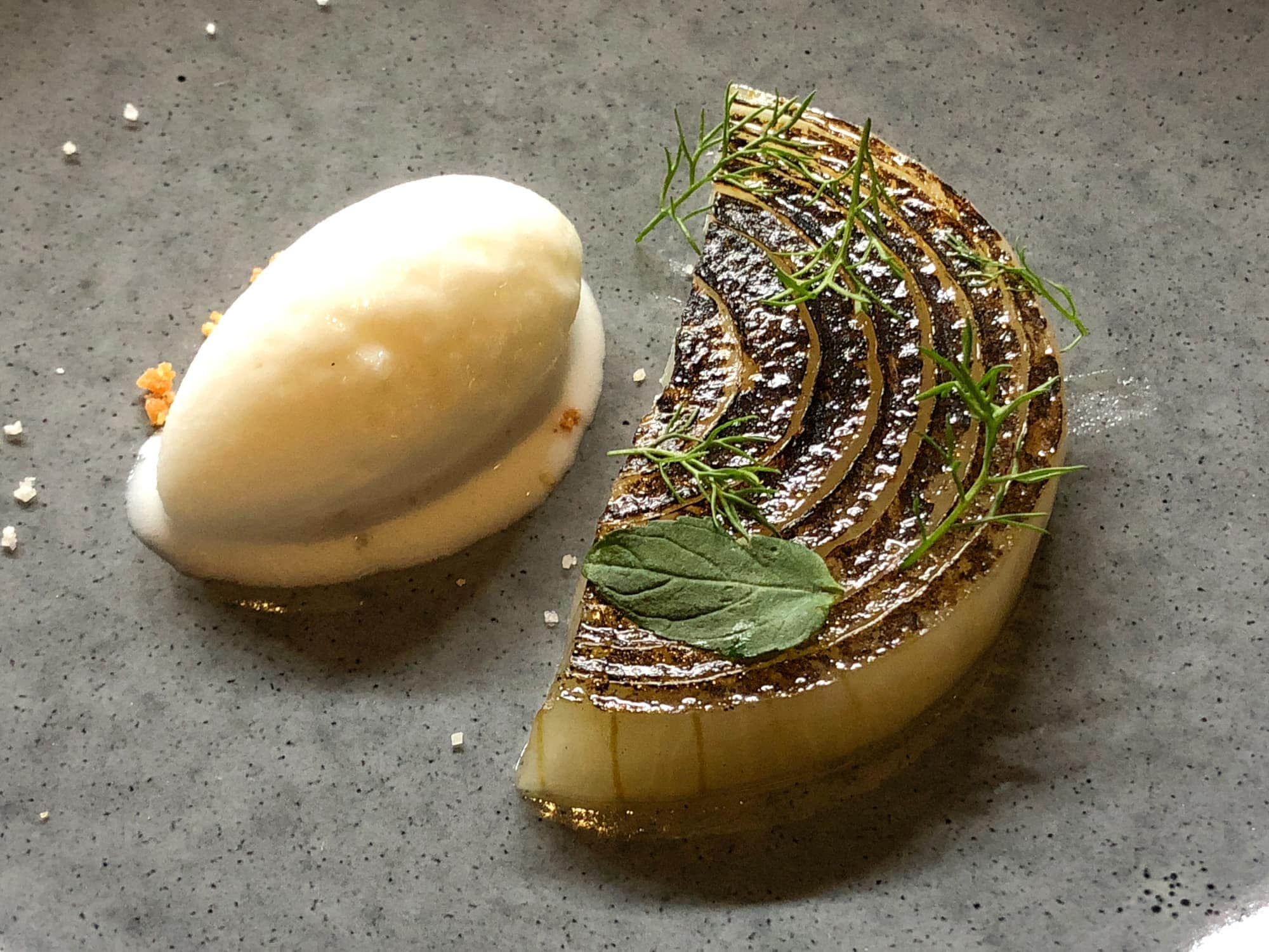 Onion, caramel, and ice cream