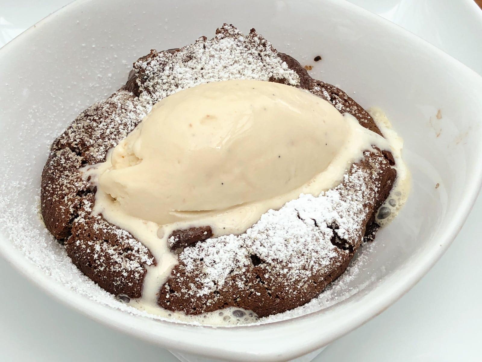 Warm chocolate tart and ice cream